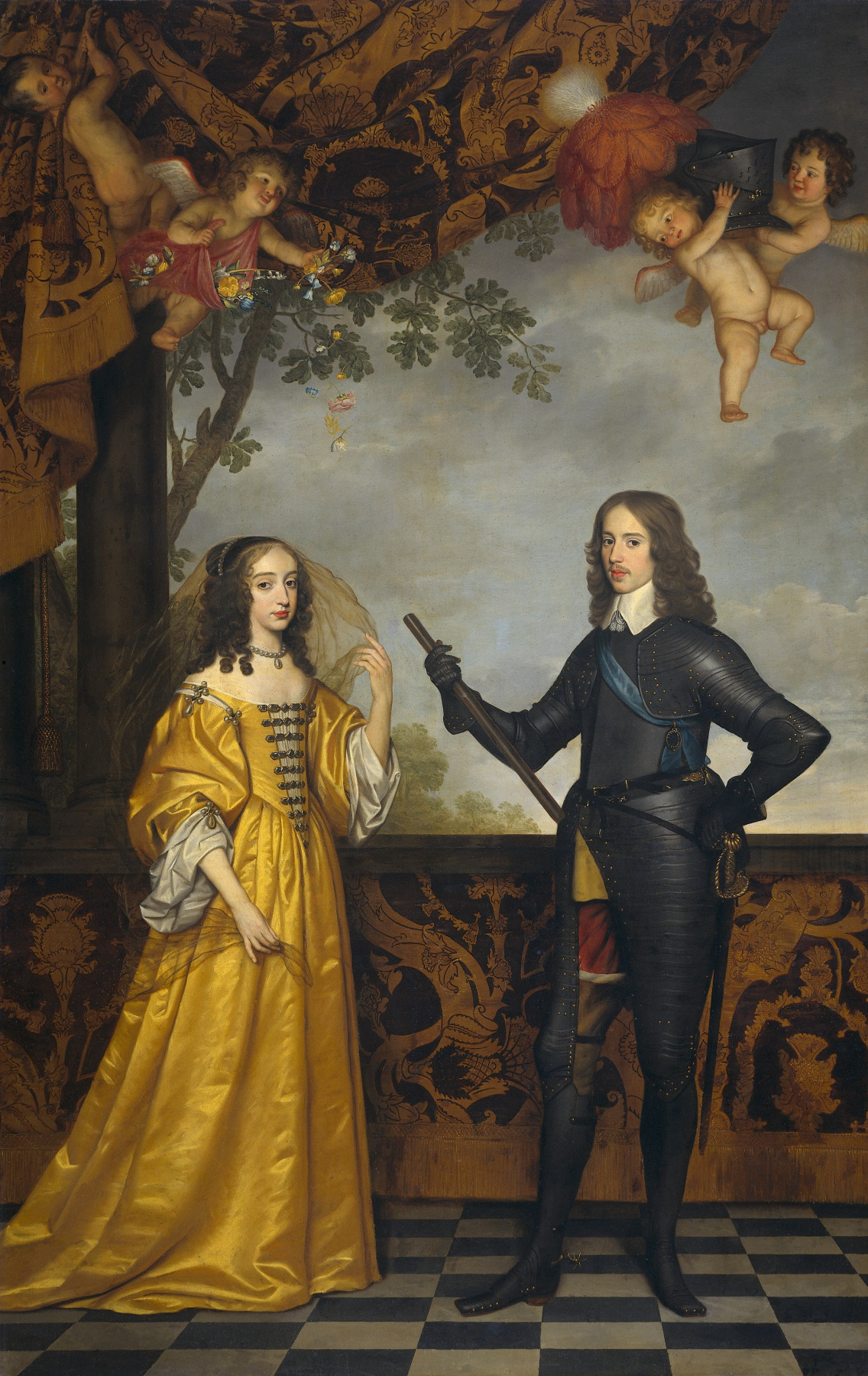 Gerard van Honthorst. Portrait of Wilhelm II, Prince of Orange, and his wife Maria Stewart