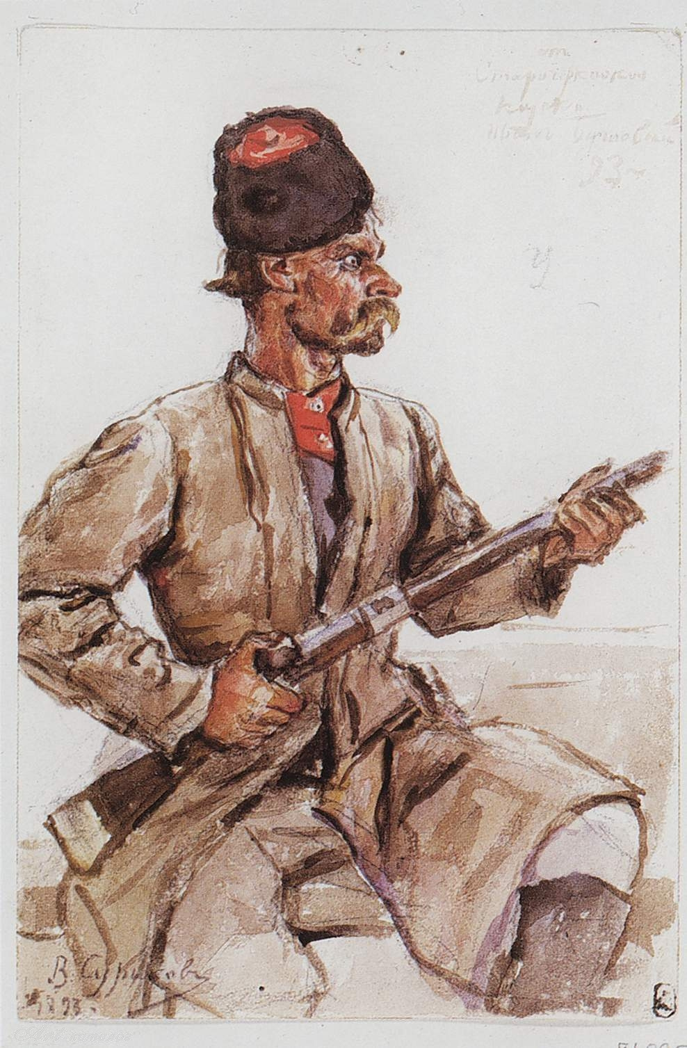 "Vasily Ivanovich Surikov. Cossack with a gun. A sketch for the painting ""the Conquest of Siberia by Yermak"""