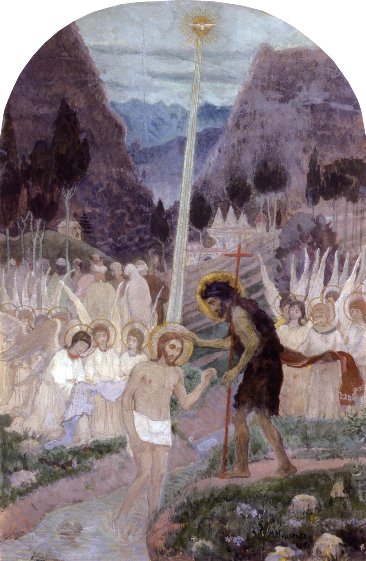 Mikhail Vasilyevich Nesterov. The Baptism (Epiphany). A sketch of the composition for the baptistery of St. Vladimir Cathedral in Kiev