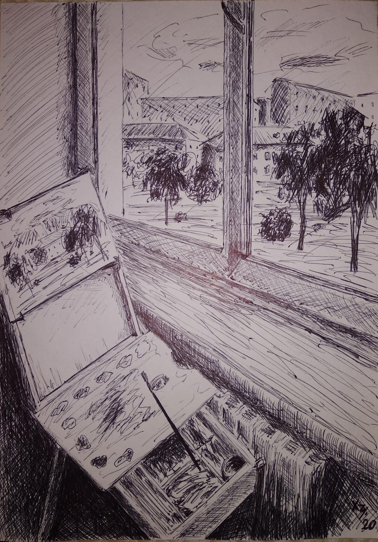 Sergei Nikolayevich Khodorenko-Zatonsky. View outside the window