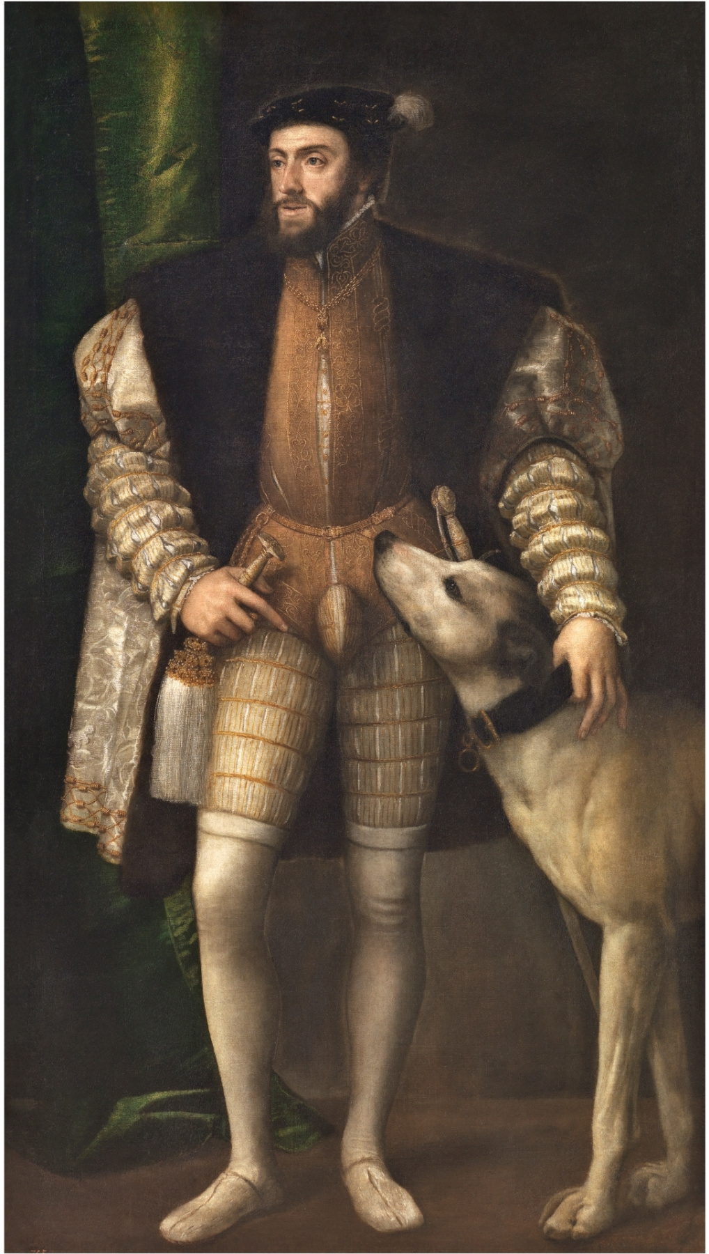 Titian Vecelli. Portrait of Emperor Charles V with a dog