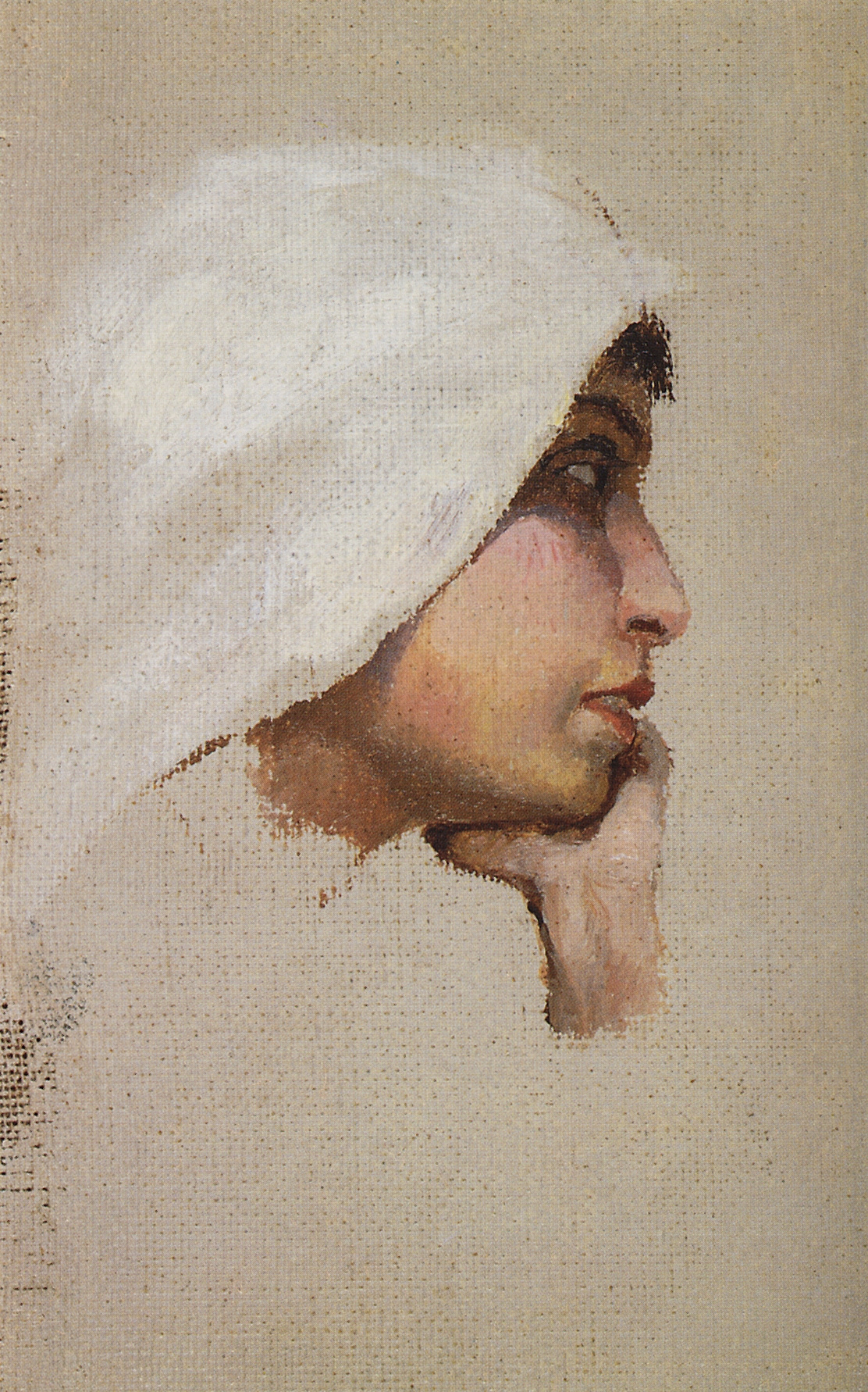 """Vasily Dmitrievich Polenov. Head of a young woman in a white blanket. A sketch for the painting """"Christ and the sinner (Who without a sin?)"""""""