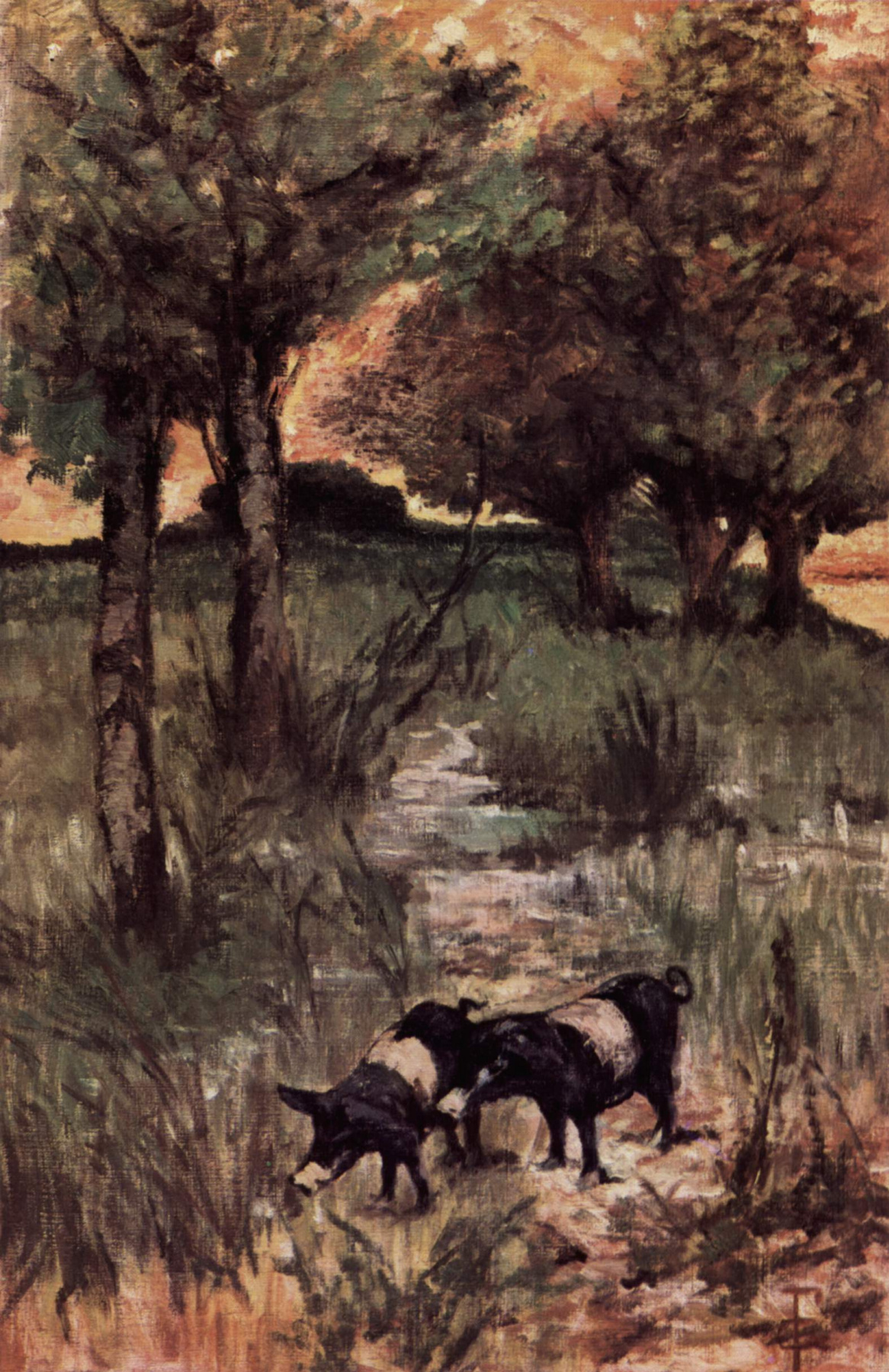 Giovanni Fattori. Two pigs in a pasture