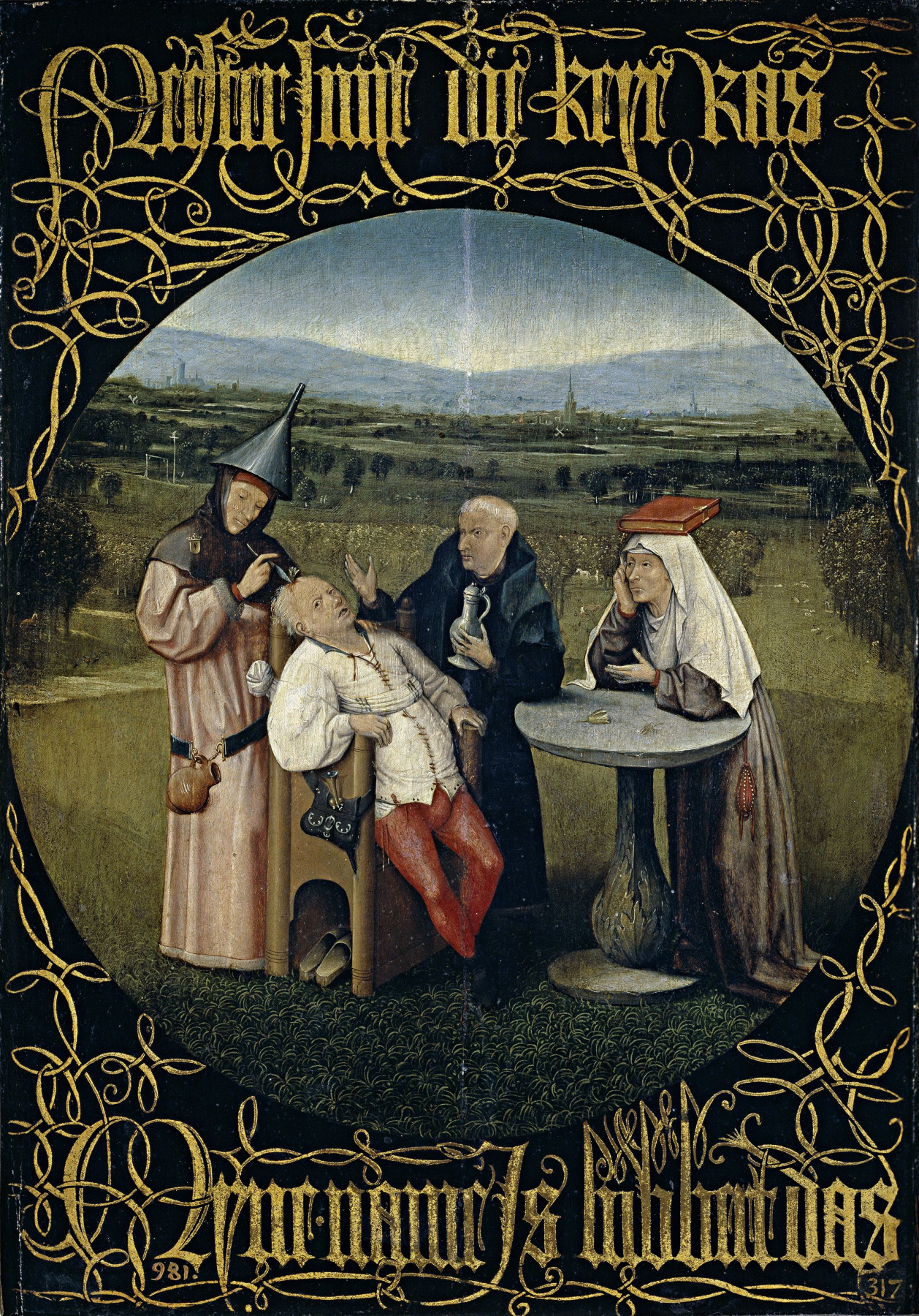 Hieronymus Bosch. The extraction of the stone of folly