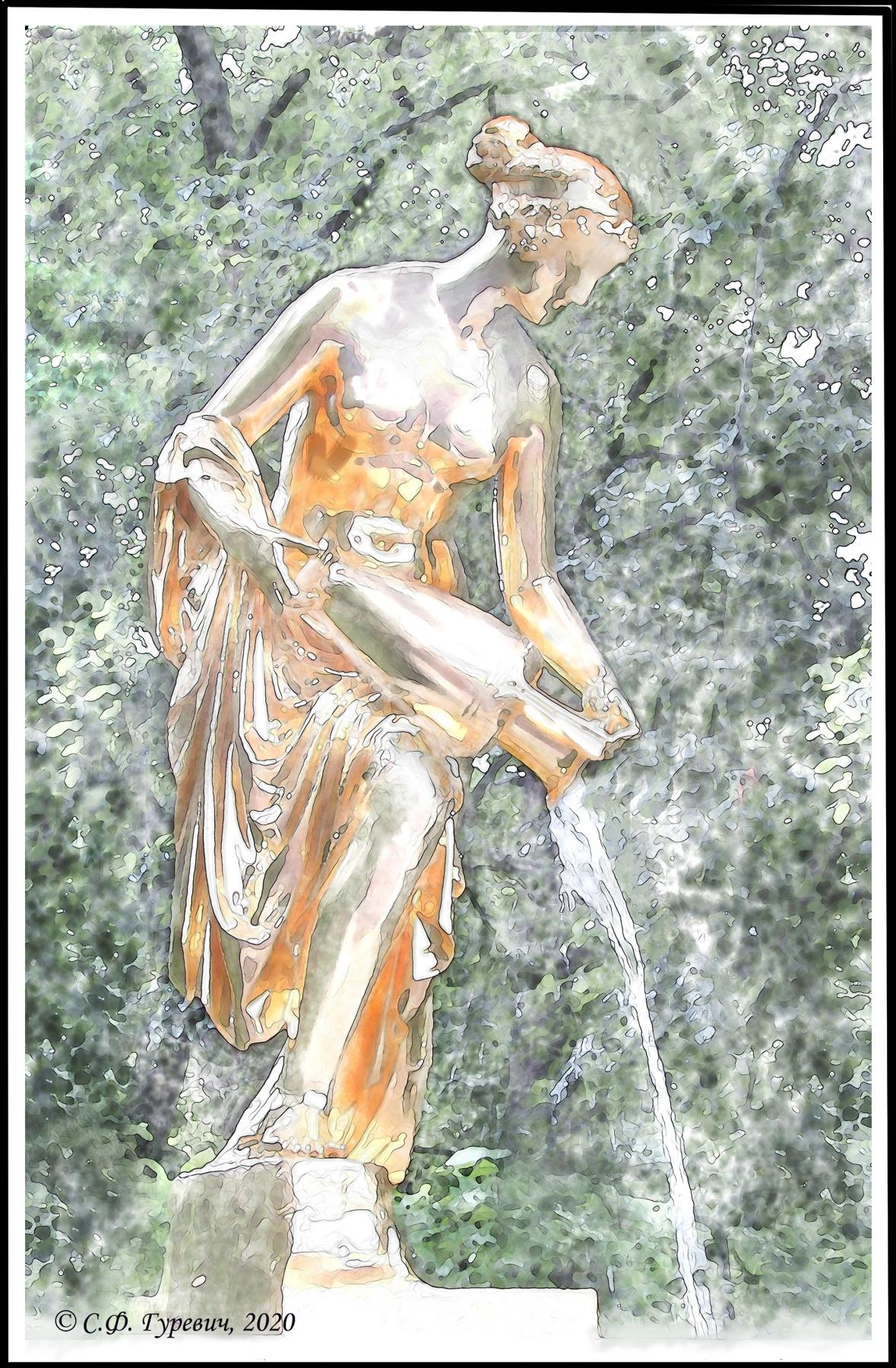 "Svetlana Fedorovna Gurevich. St. Petersburg. Peterhof. Lower park. Fountain ""Danaide"""
