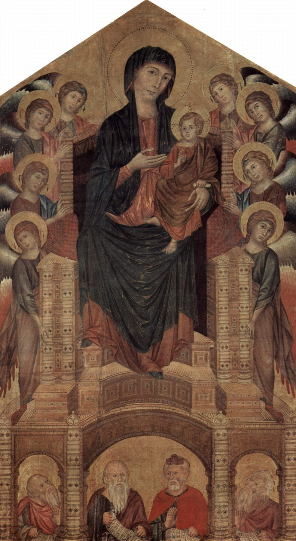 Cimabue (Chenny di Pepo). Madonna enthroned with eight angels and four prophets