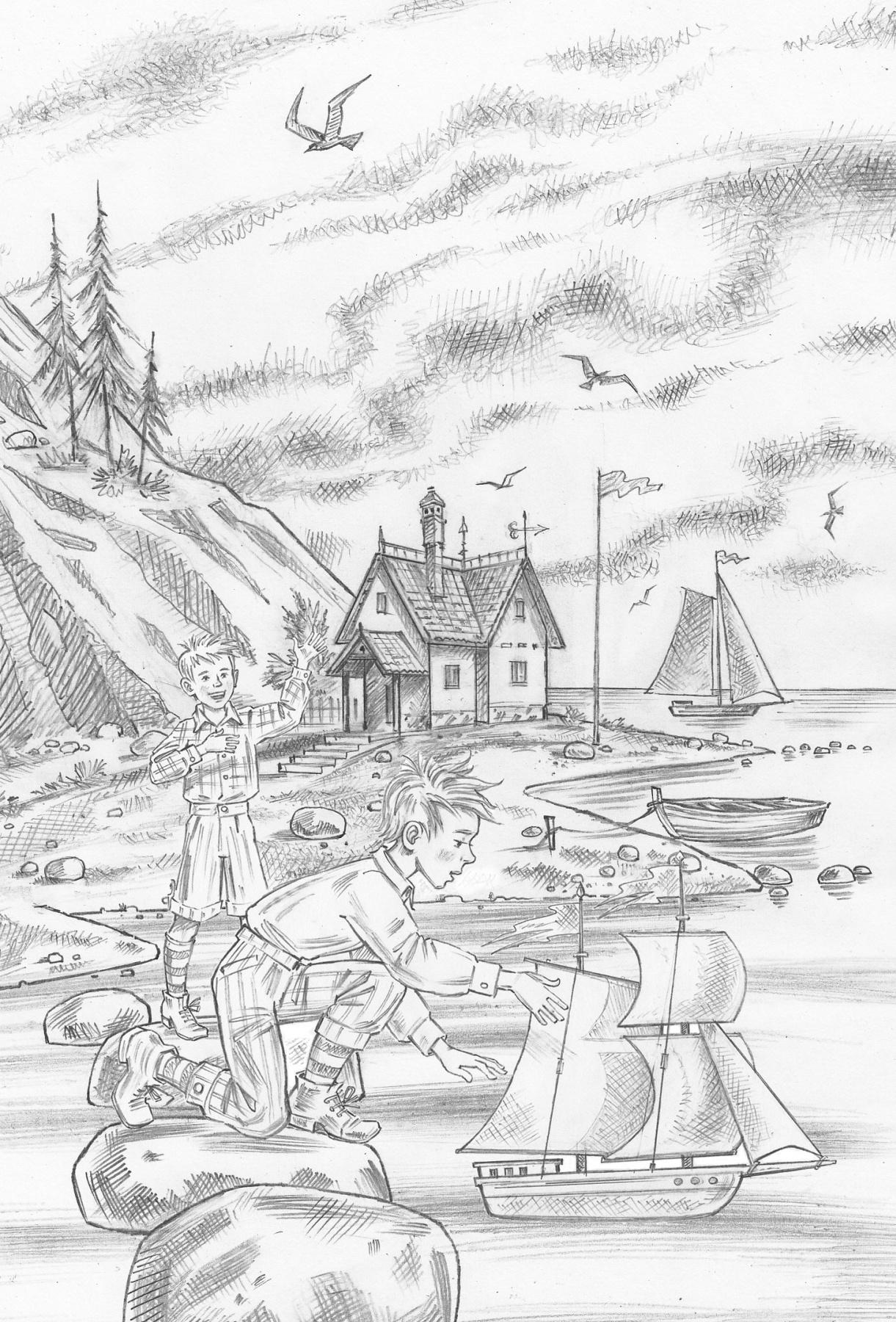Alexander Vasilievich Kuzmin. My little boys. Gustav Geyerstam. Cover. Sketch.