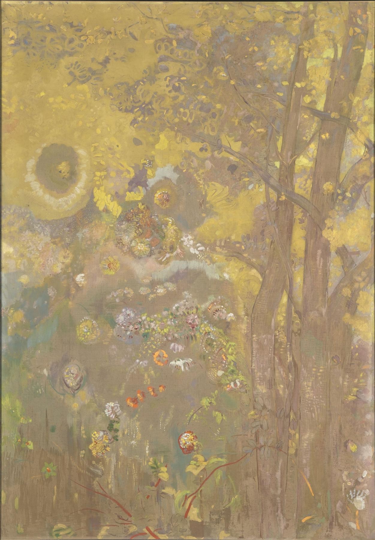 Odilon Redon. Trees on a yellow background