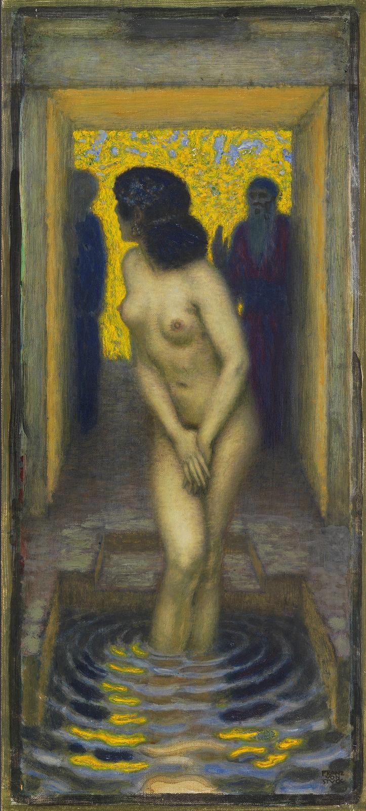 Franz von Stuck. Susanna in the swimming pool. 1913