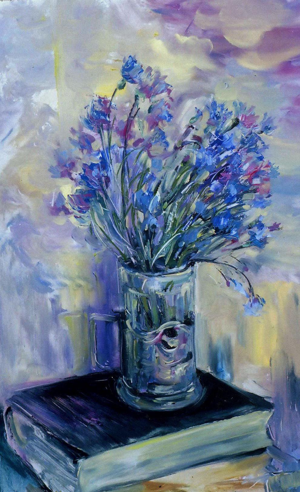 Konstantin Leonidovich Antipov. ,, Cornflowers in a glass ,,