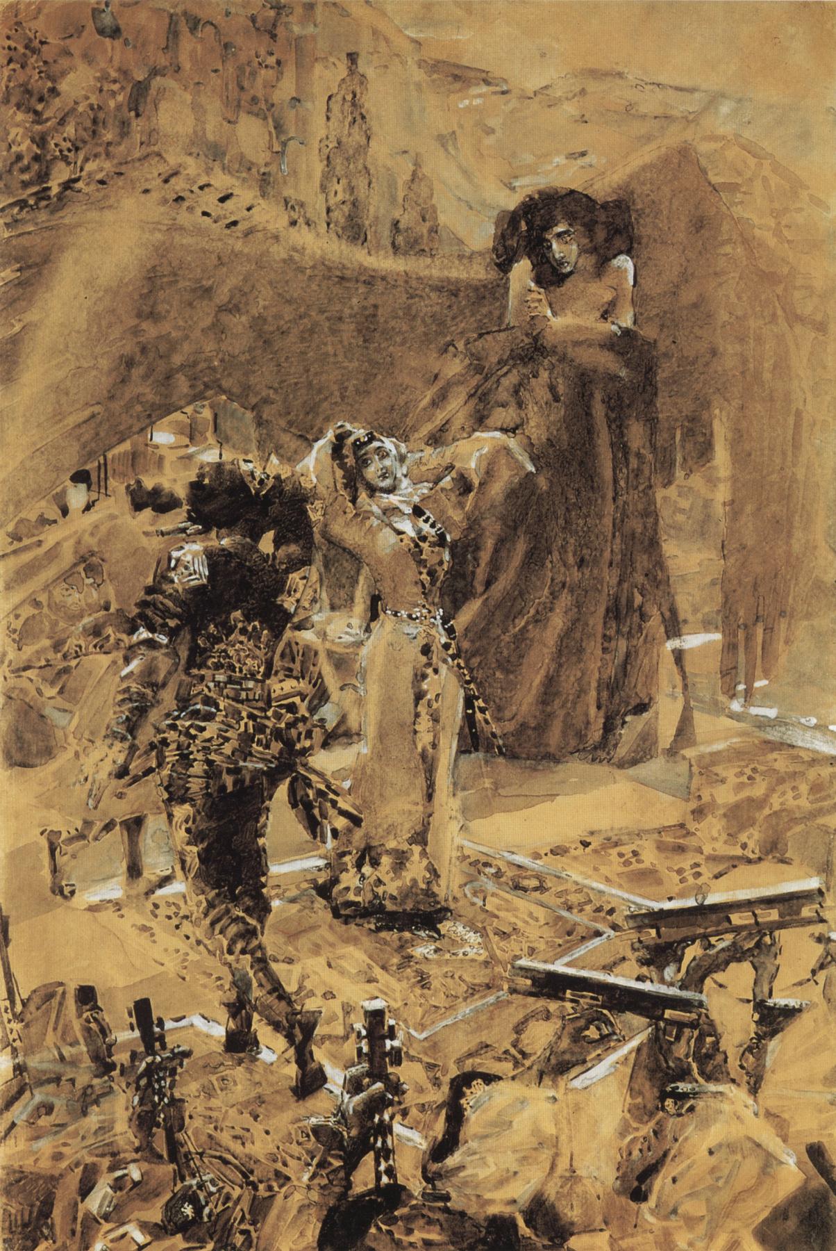 "Mikhail Vrubel. Dance Tamara. Illustration to the poem by Mikhail Lermontov ""Demon"""