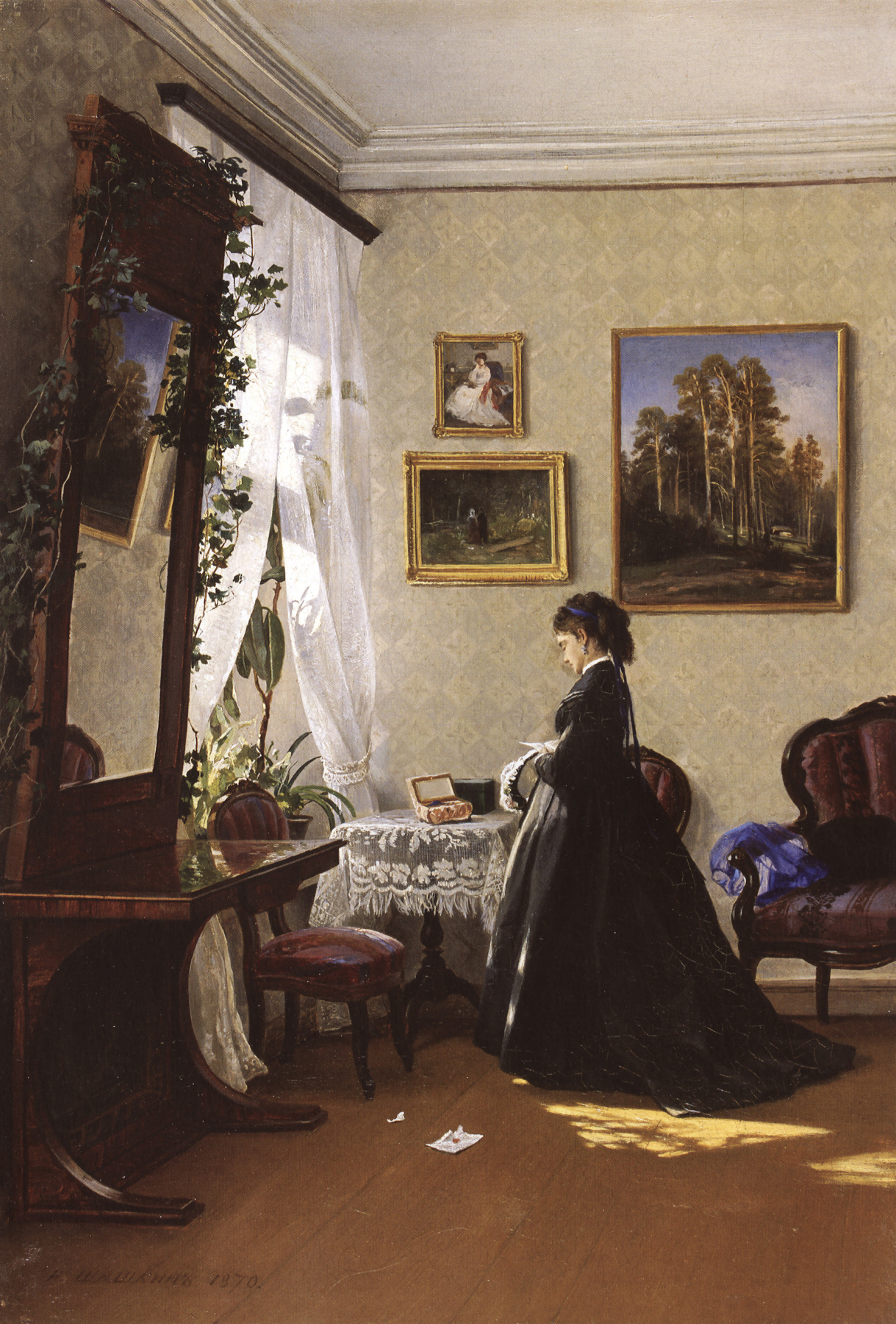 Ivan Shishkin. In front of the mirror. Reading the letter