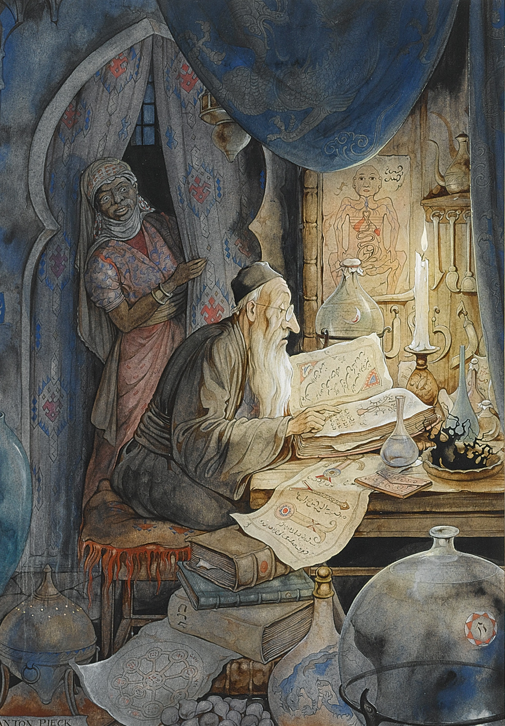 """Anton Pieck. """"The book of the thousand and one nights"""". The night of the 27th. The history of the Jewish doctors"""