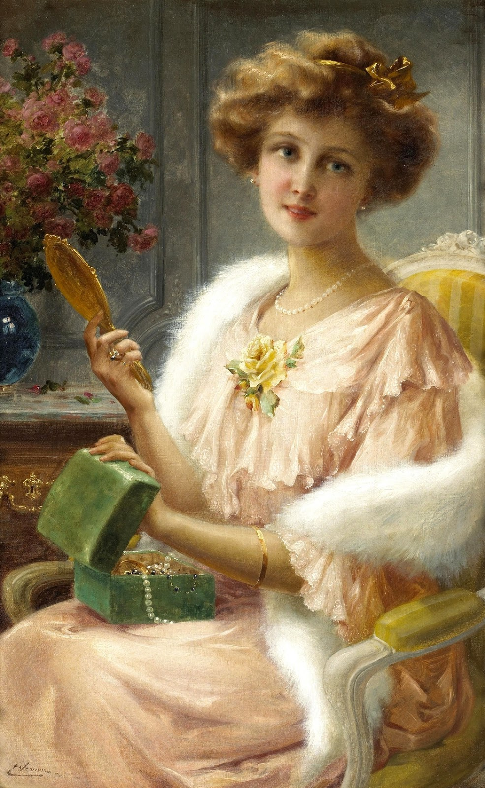 Emile Vernon. Young lady with mirror. 1909