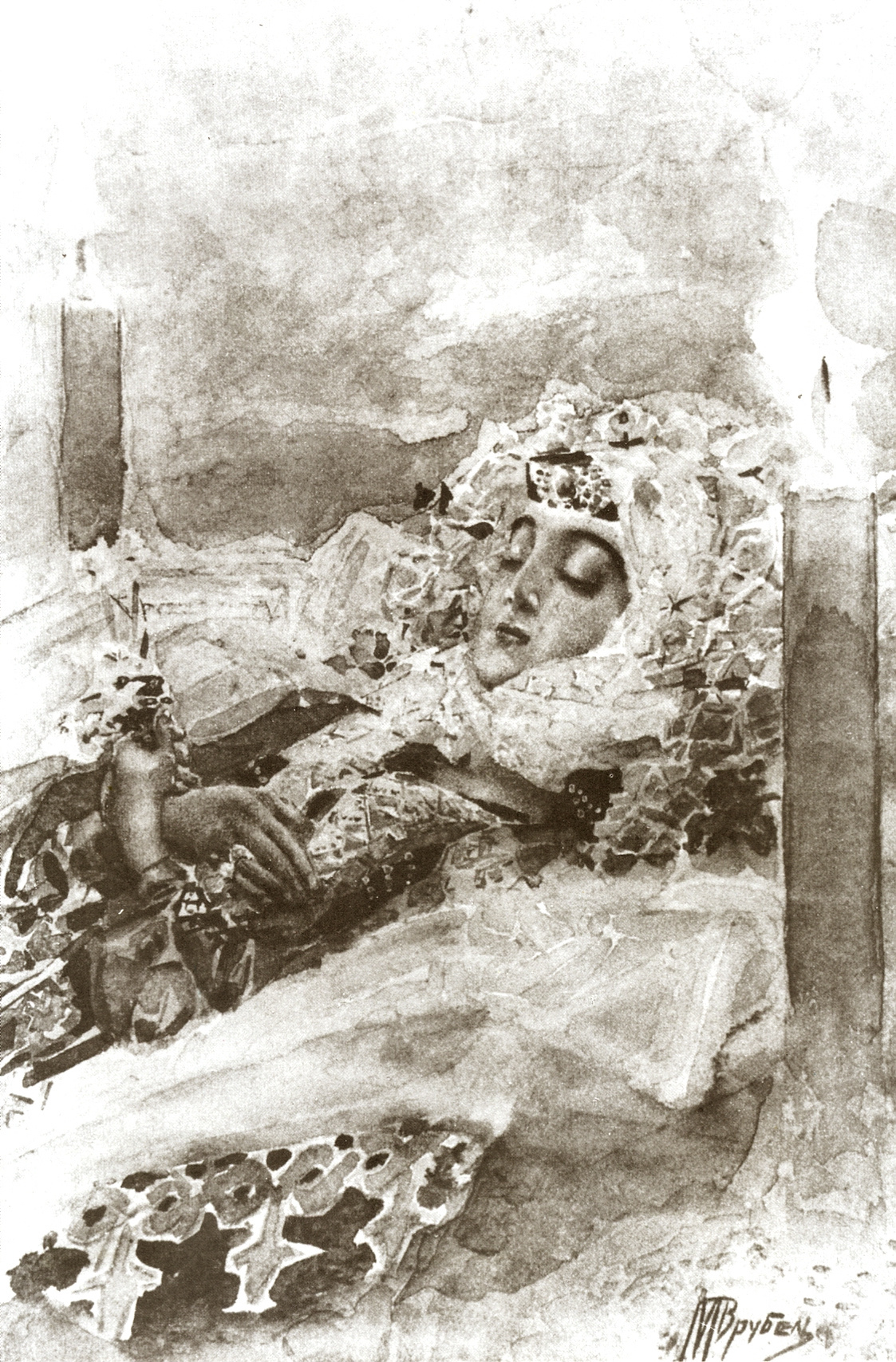 """Mikhail Vrubel. Tamara in a coffin. Illustration to the poem by Mikhail Lermontov """"Demon"""""""