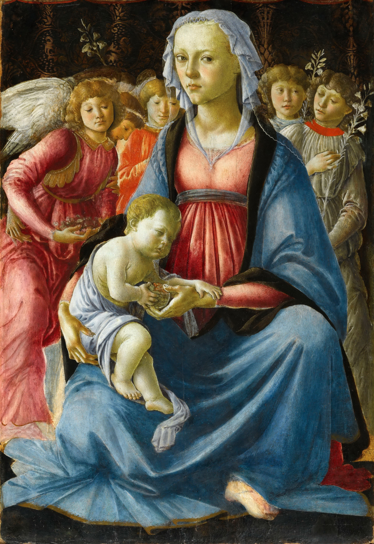 Sandro Botticelli. Madonna with child and five angels