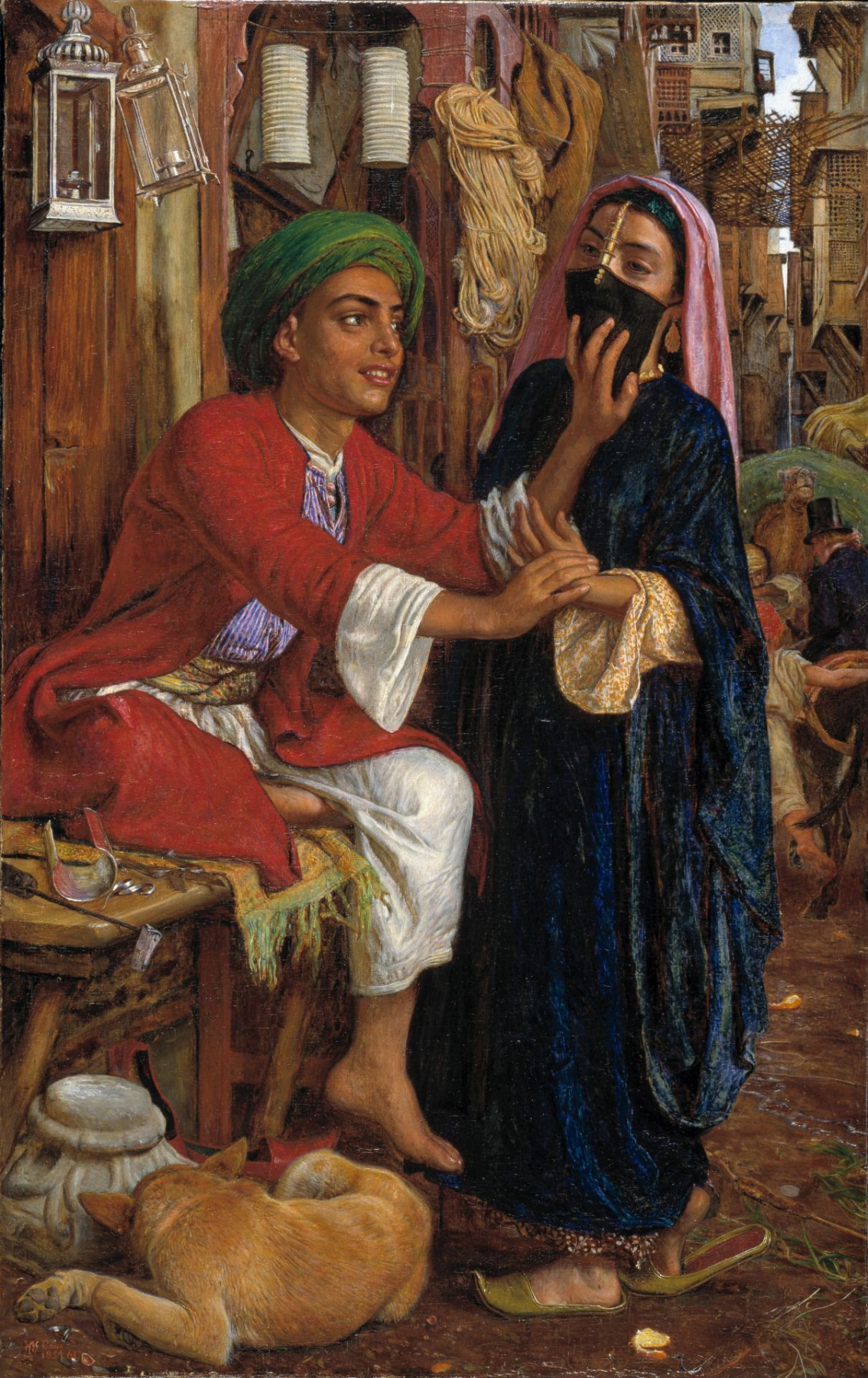 William Holman Hunt. The courtship of the seller of the lights. Street scene in Cairo