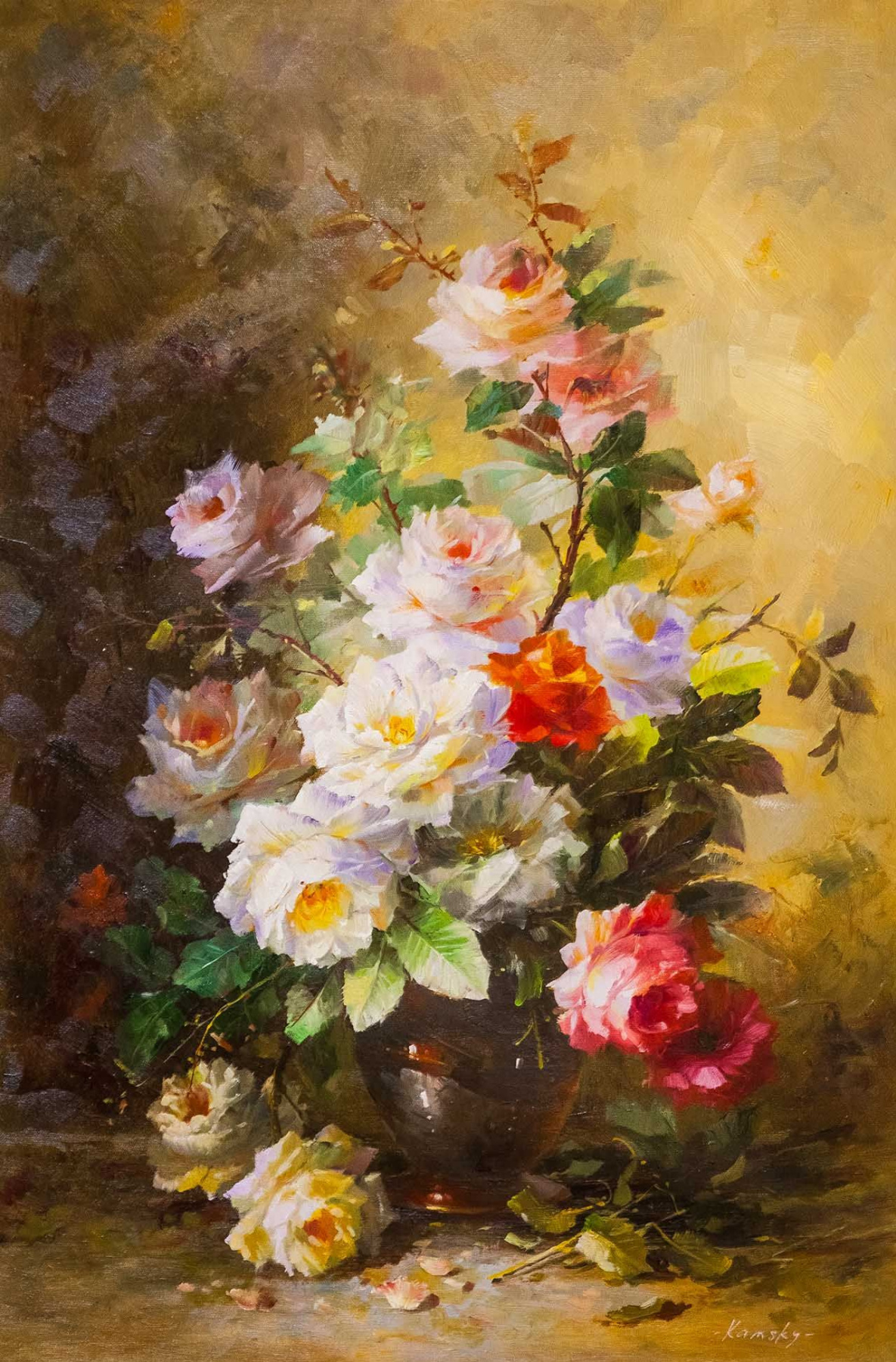 Savely Kamsky. Bouquet with orange rose