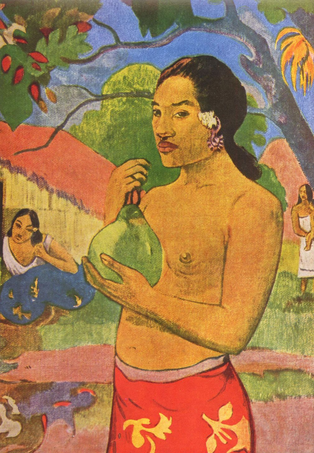 Paul Gauguin. Woman holding a fruit. Fragment