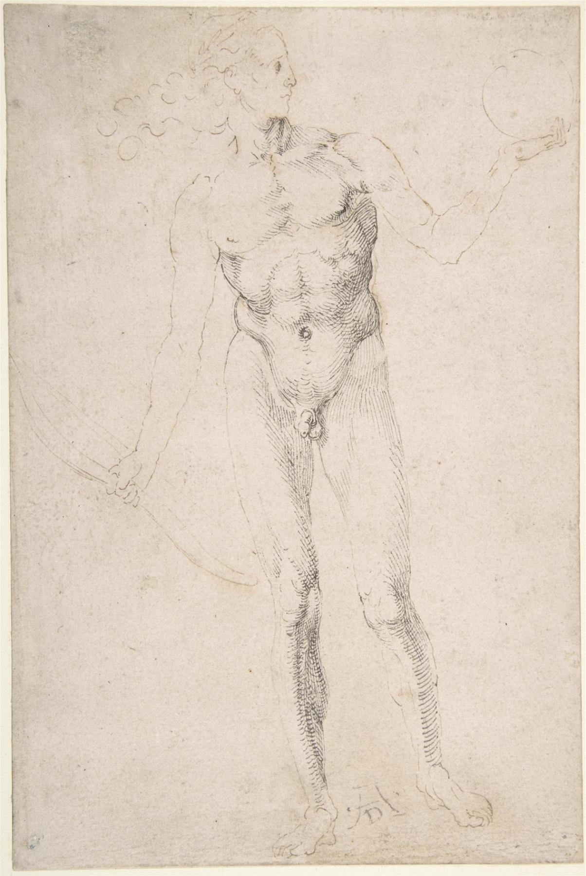 Albrecht Dürer. Etude.A naked man with a bow.(Apollo)