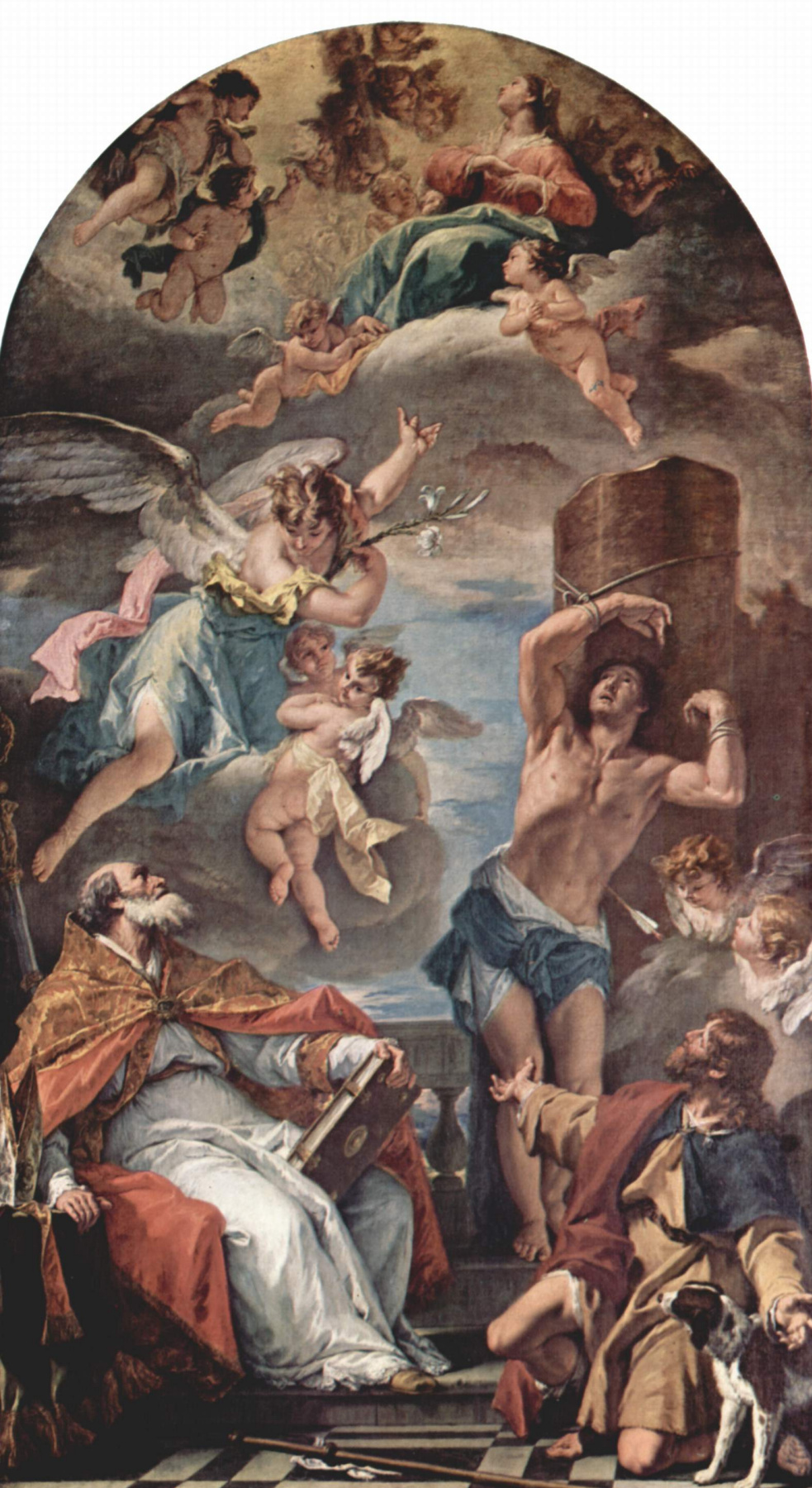 Sebastiano Ricci. Mary in glory with Archangel Gabriel, and saints Peter and Paul. By Eusebius, Sebastian and Roch