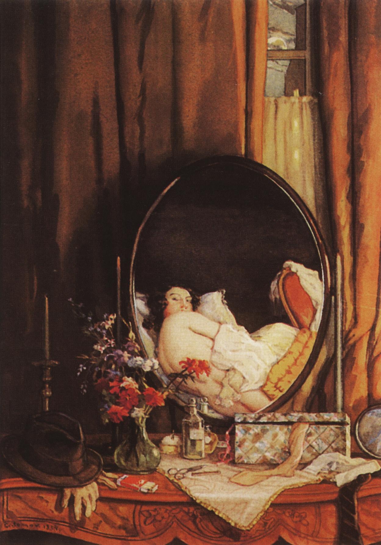 Constantin Somov. Intimate reflection in the vanity mirror