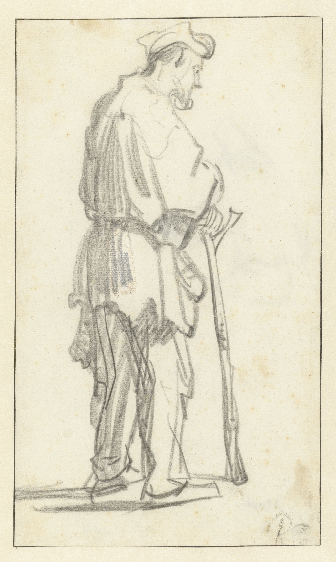 Rembrandt Harmenszoon van Rijn. Standing Man with a Stick, Facing Right