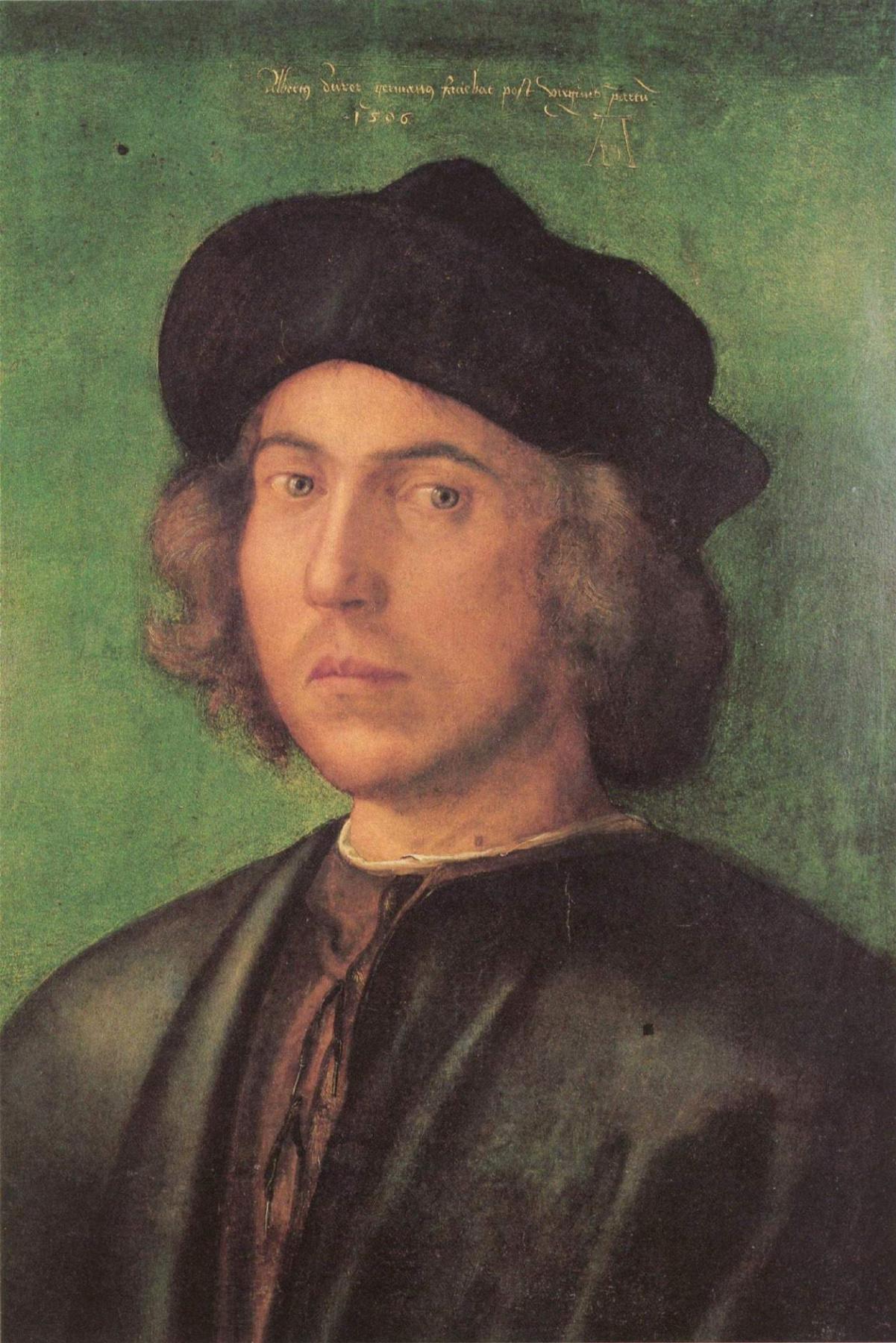 Albrecht Durer. Portrait of young man on green background