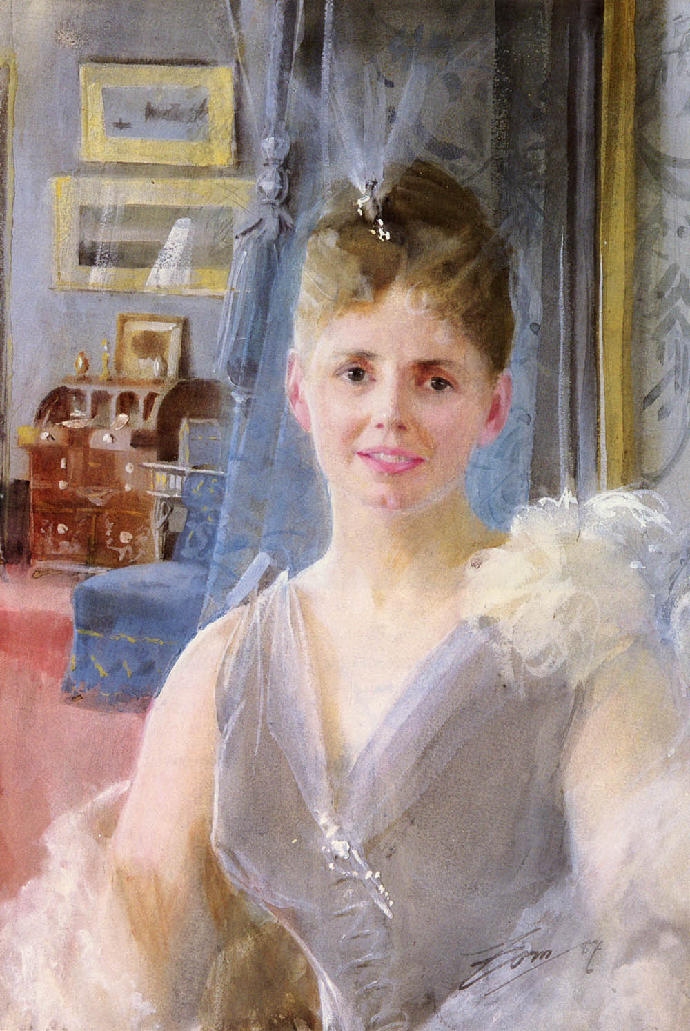 Anders Zorn. Portrait of Edith Palgrave Edward in her London residence