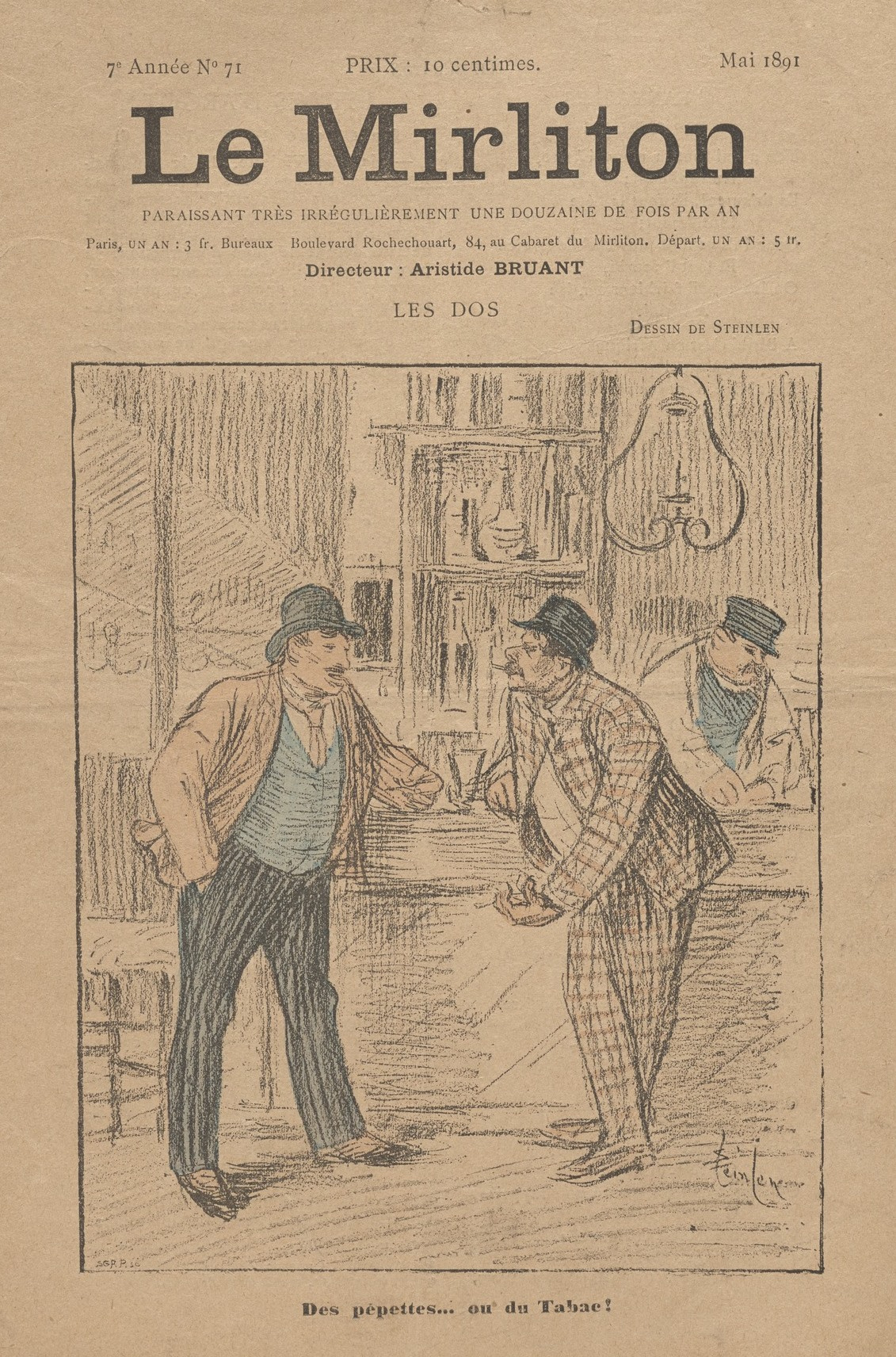 """Theophile-Alexander Steinlen. Illustration for the magazine """"Mirliton"""" No. 71, may 1891"""