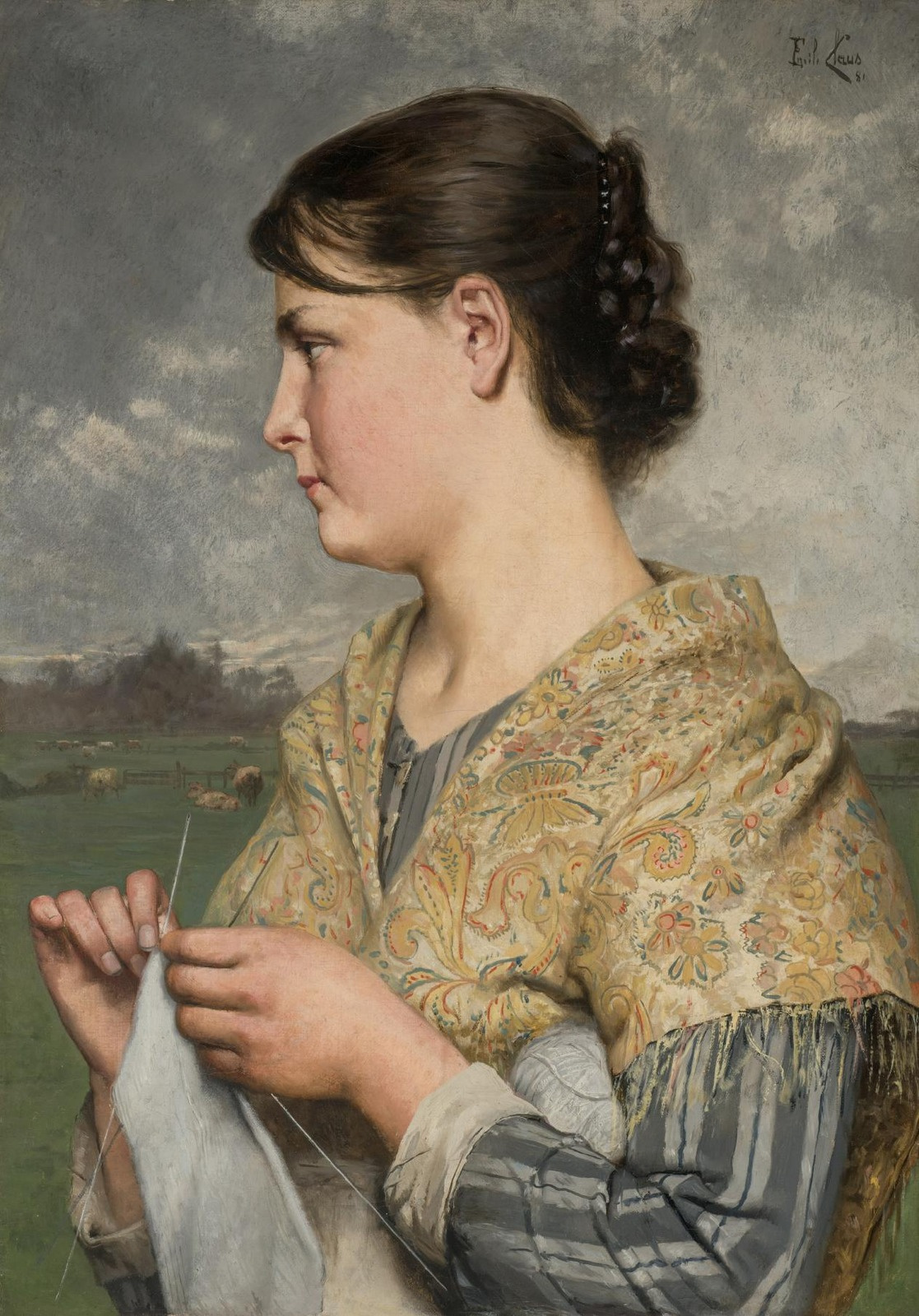 Emil Klaus. Woman with knitting