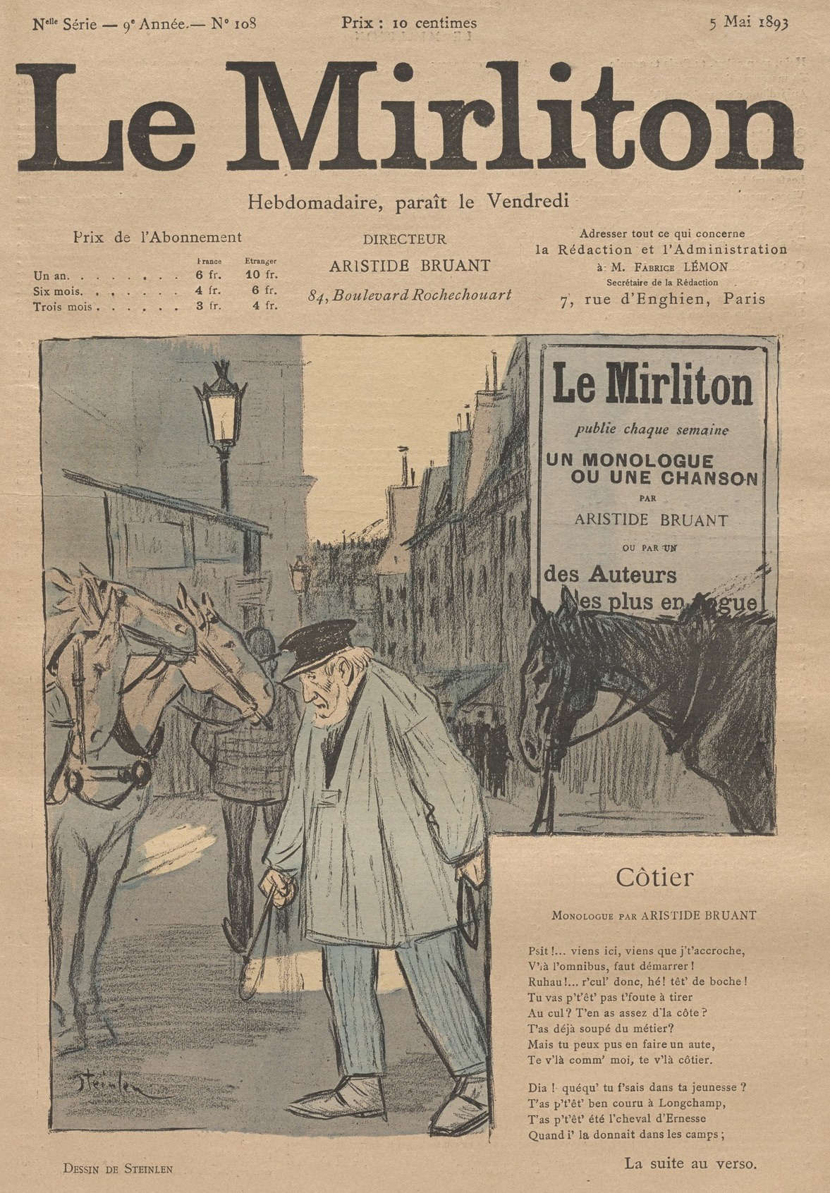 """Theophile-Alexander Steinlen. Illustration for the magazine """"Mirliton"""" No. 108, may 5, 1893"""