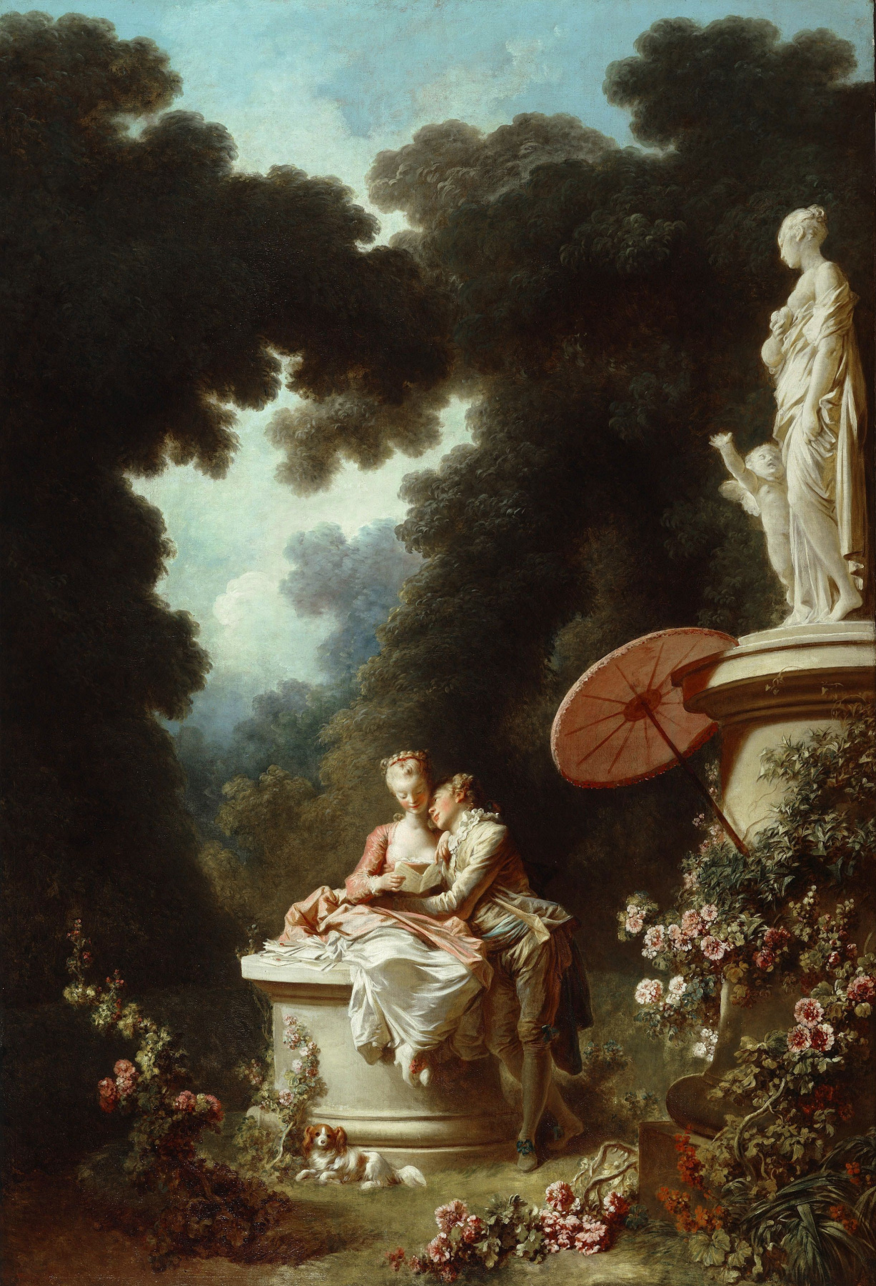 """Jean-Honore Fragonard. A Declaration of love. From series of paintings """"Love adventure"""""""