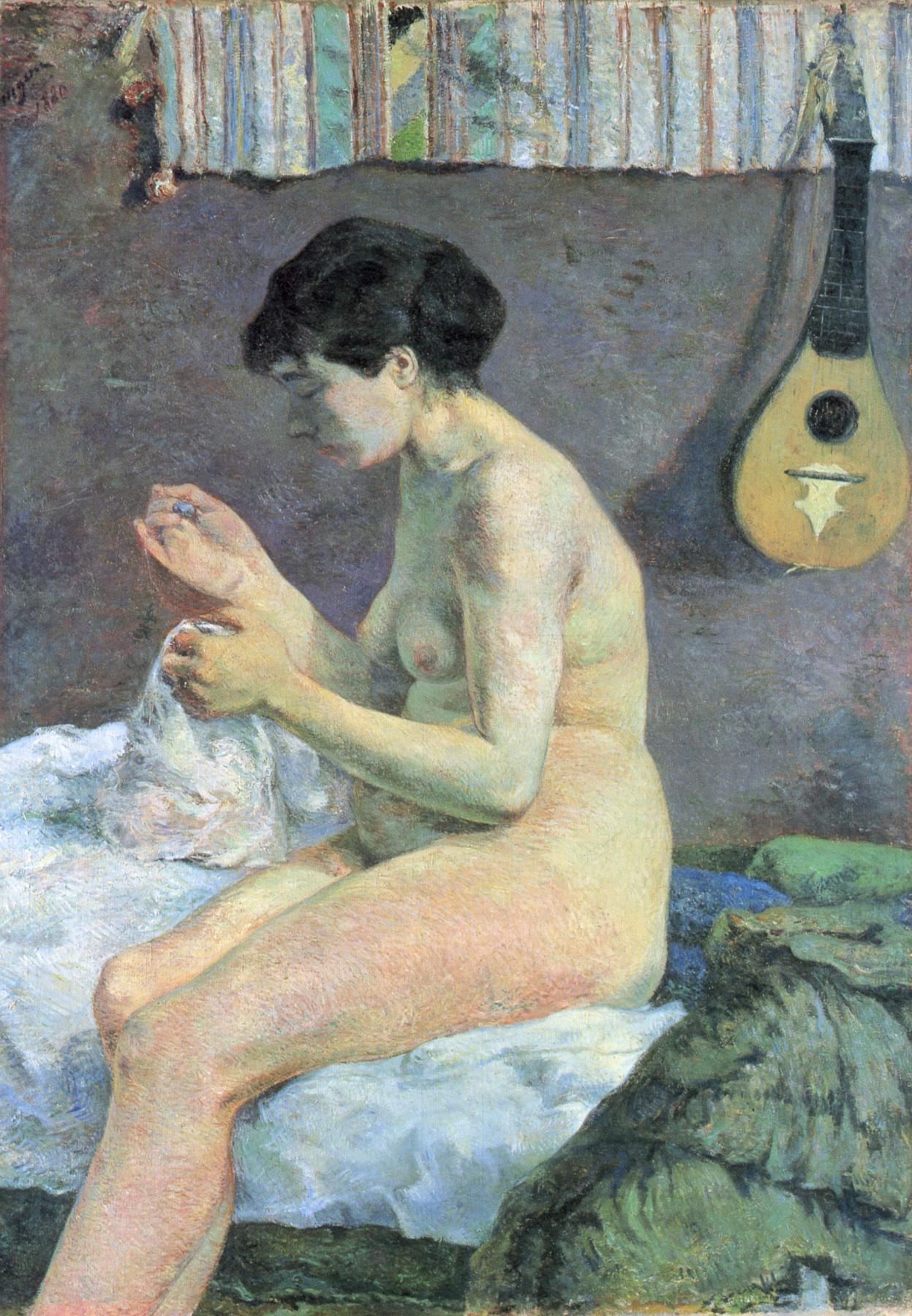 Paul Gauguin. Suzanne sewing. Sketch Nude