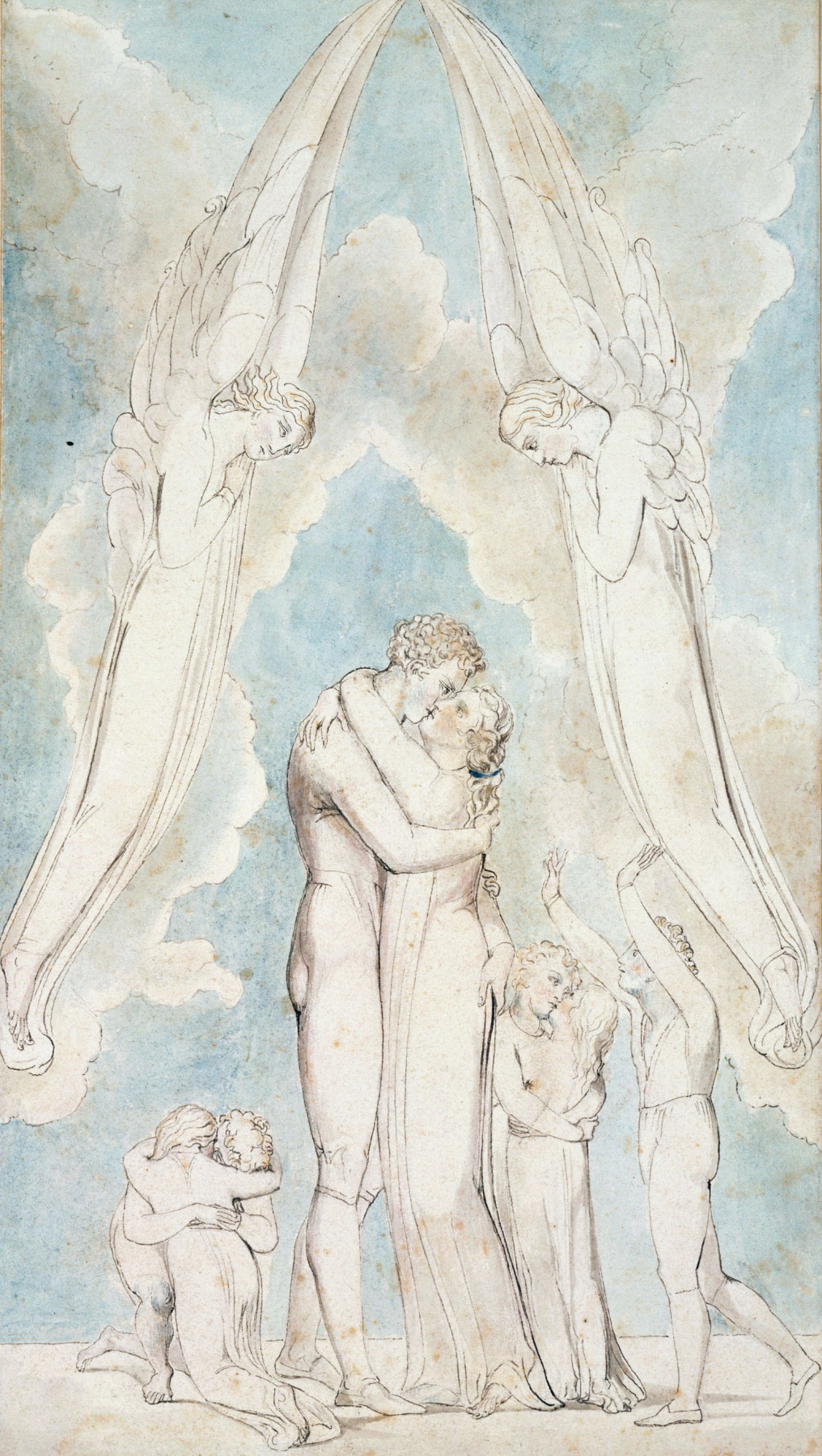 "William Blake. The reunification of family members in heaven. Illustration to the poem by Robert Blair's ""the Grave"""