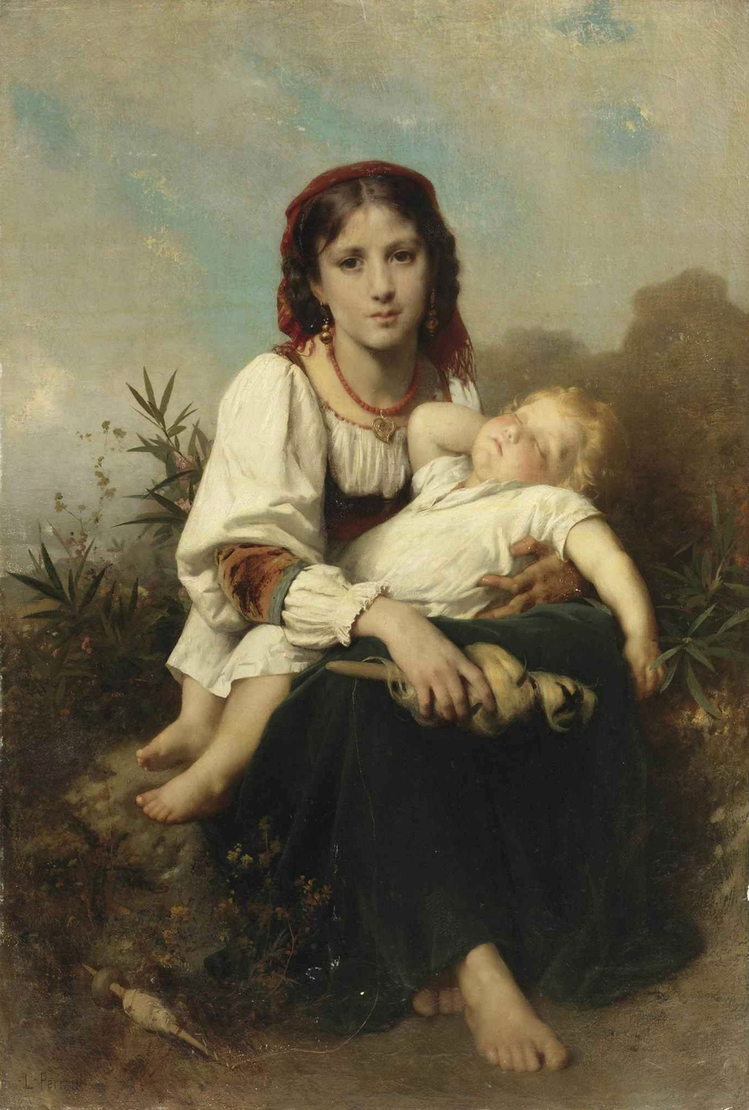 Leon Basile Perrot France 1832-1908. Sister-nanny. 1876