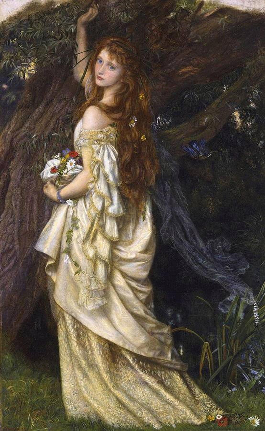 Arthur Hughes. Ophelia before death