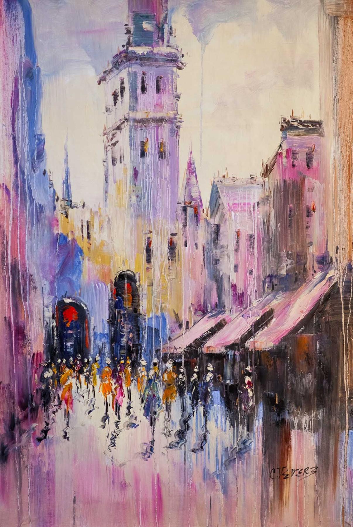 (no name). Urban sketches N9. Lilac tone