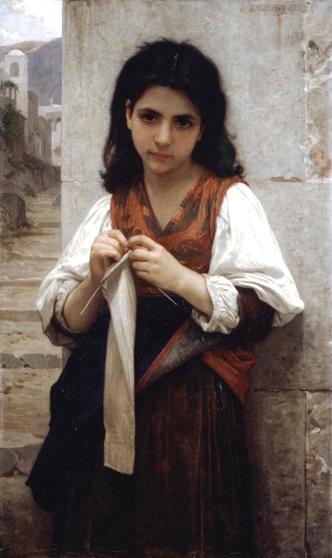 William-Adolphe Bouguereau. Knitter