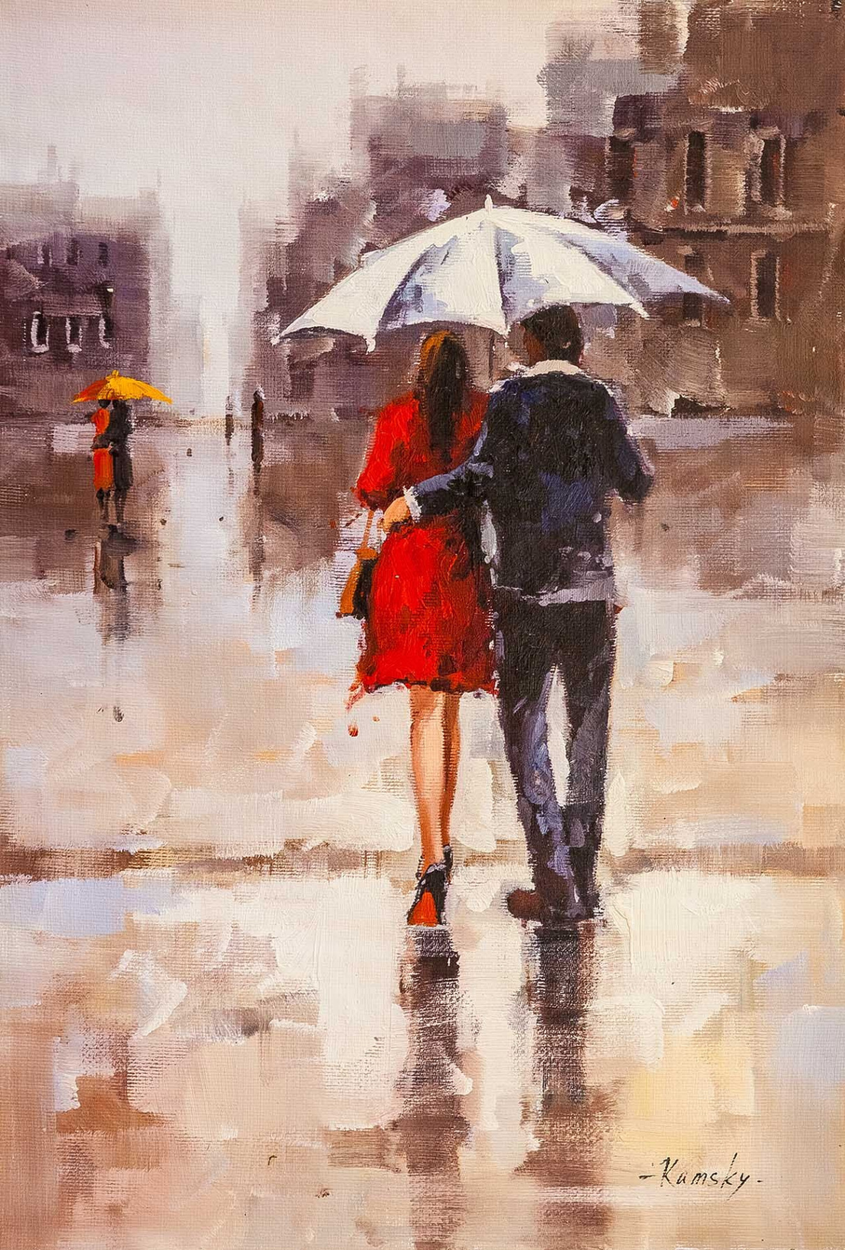 Savely Kamsky. Lovers under a white umbrella