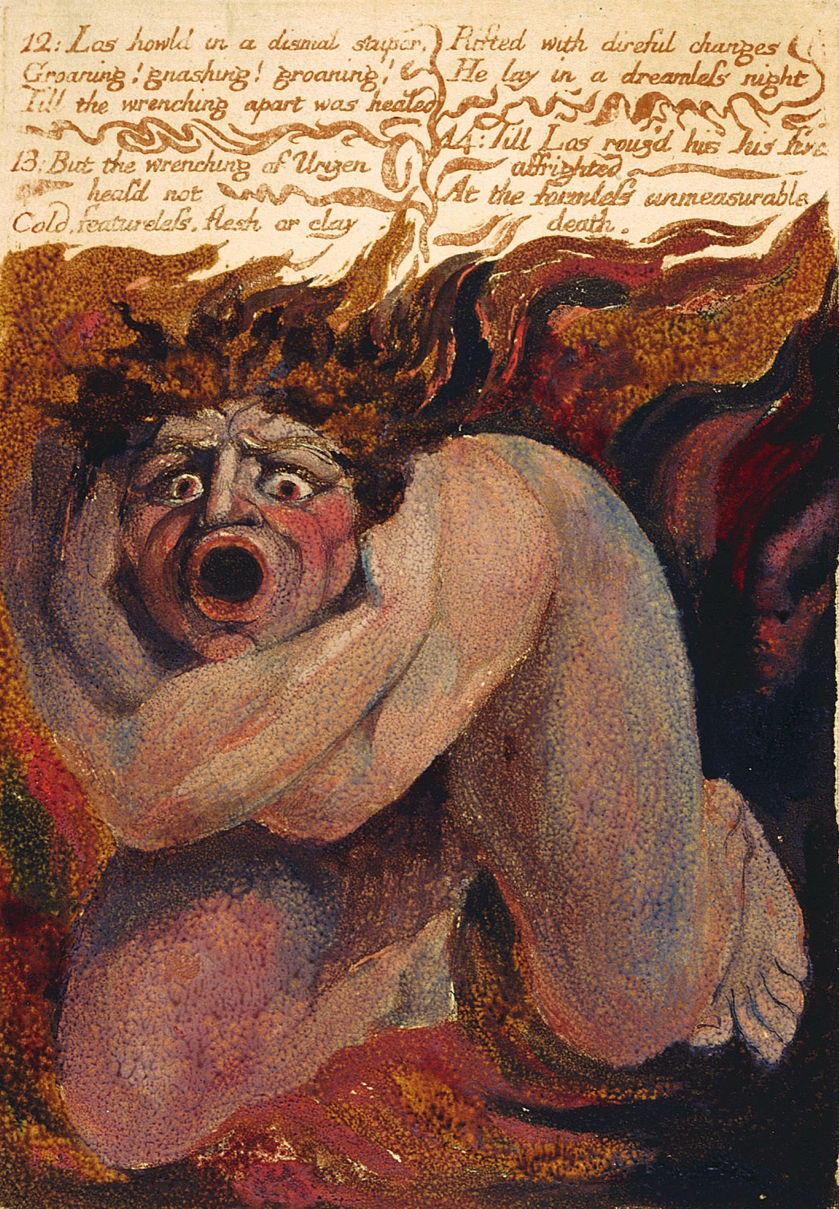 William Blake. The first book Urizen. Los in horror