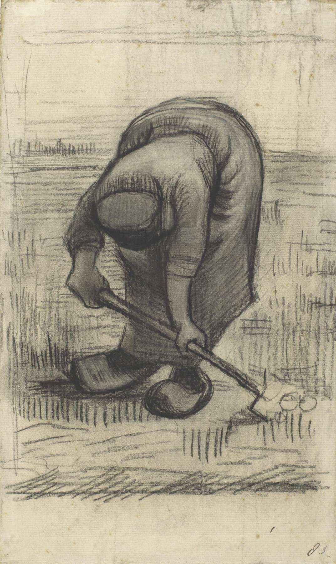 Vincent van Gogh. Peasant, digging up potatoes