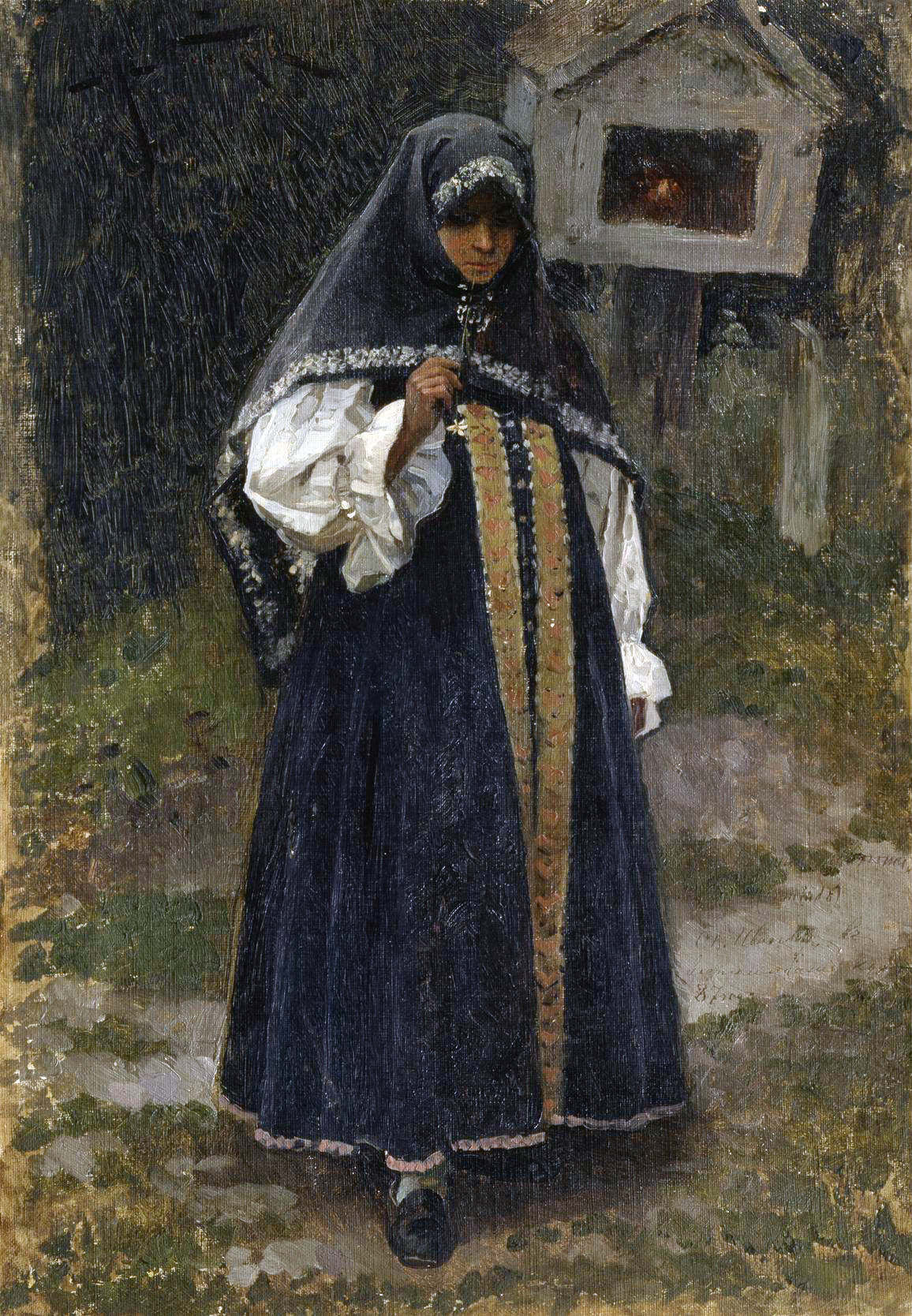 """Mikhail Vasilyevich Nesterov. Girl-Nizhegorodka. Sketch for the second version of the painting """"Christ's bride"""" were in the collection of Grand Duke Sergei Alexandrovich"""
