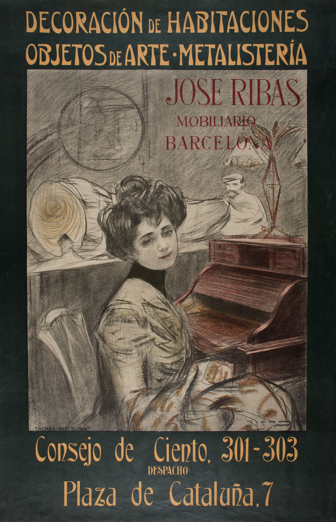 Ramon Casas i Carbó. Furniture advertisements by Jose Ribas, Barcelona