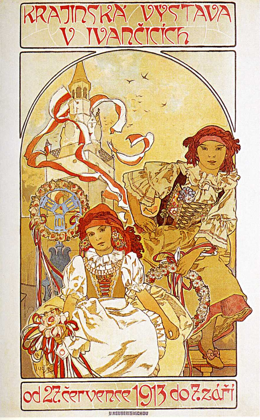 Alfonse Mucha. Advertising poster for the Regional exhibition in Ivančice