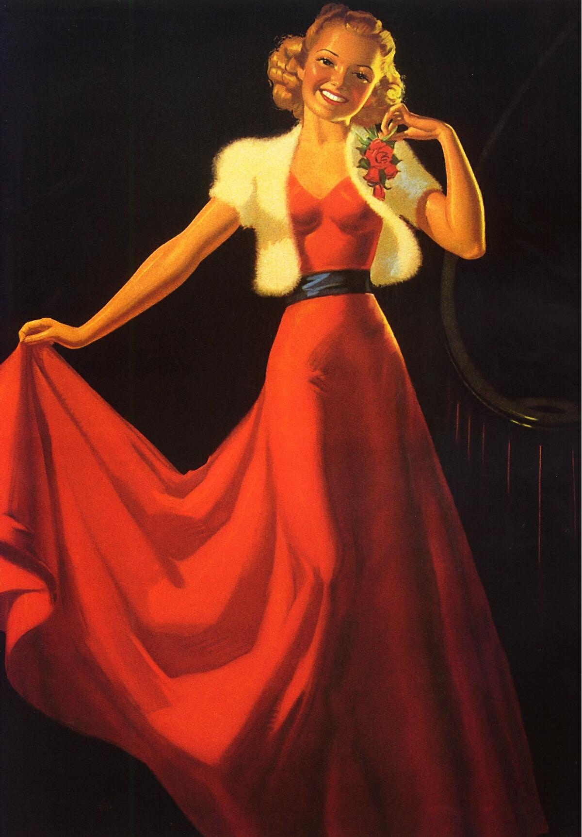 Whip Munson. Girl in red dress with flower
