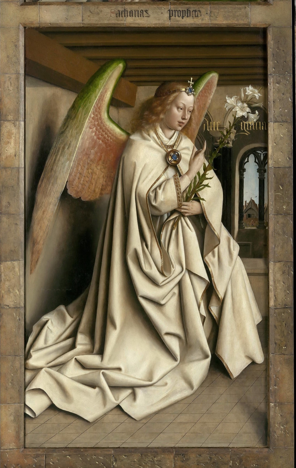 Jan van Eyck. Ghent altarpiece with wings closed (fragment)