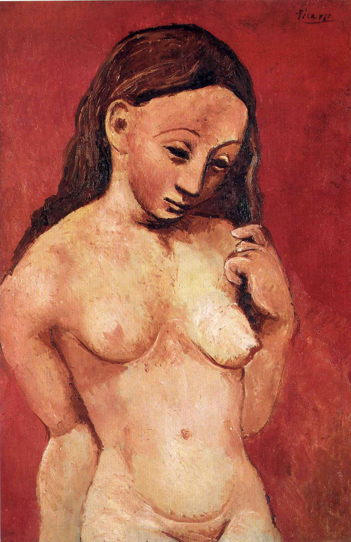 Pablo Picasso. Nude on a red background