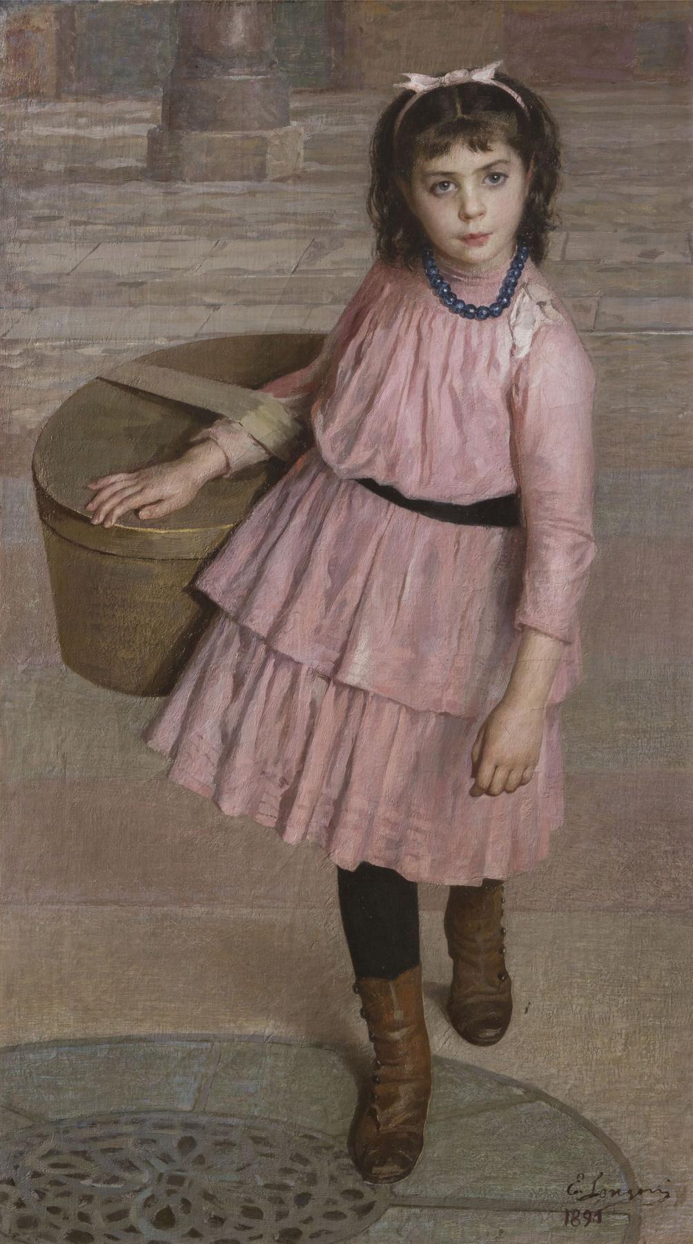 Emilio Longoni. La Piscinina (La Piccolina) 1890, olio su Tela, 126 X 71 cm