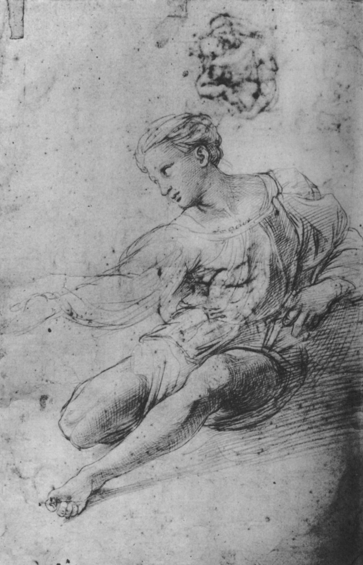 """Raphael Sanzio. Sketch of a seated woman for """"the Alba Madonna"""""""